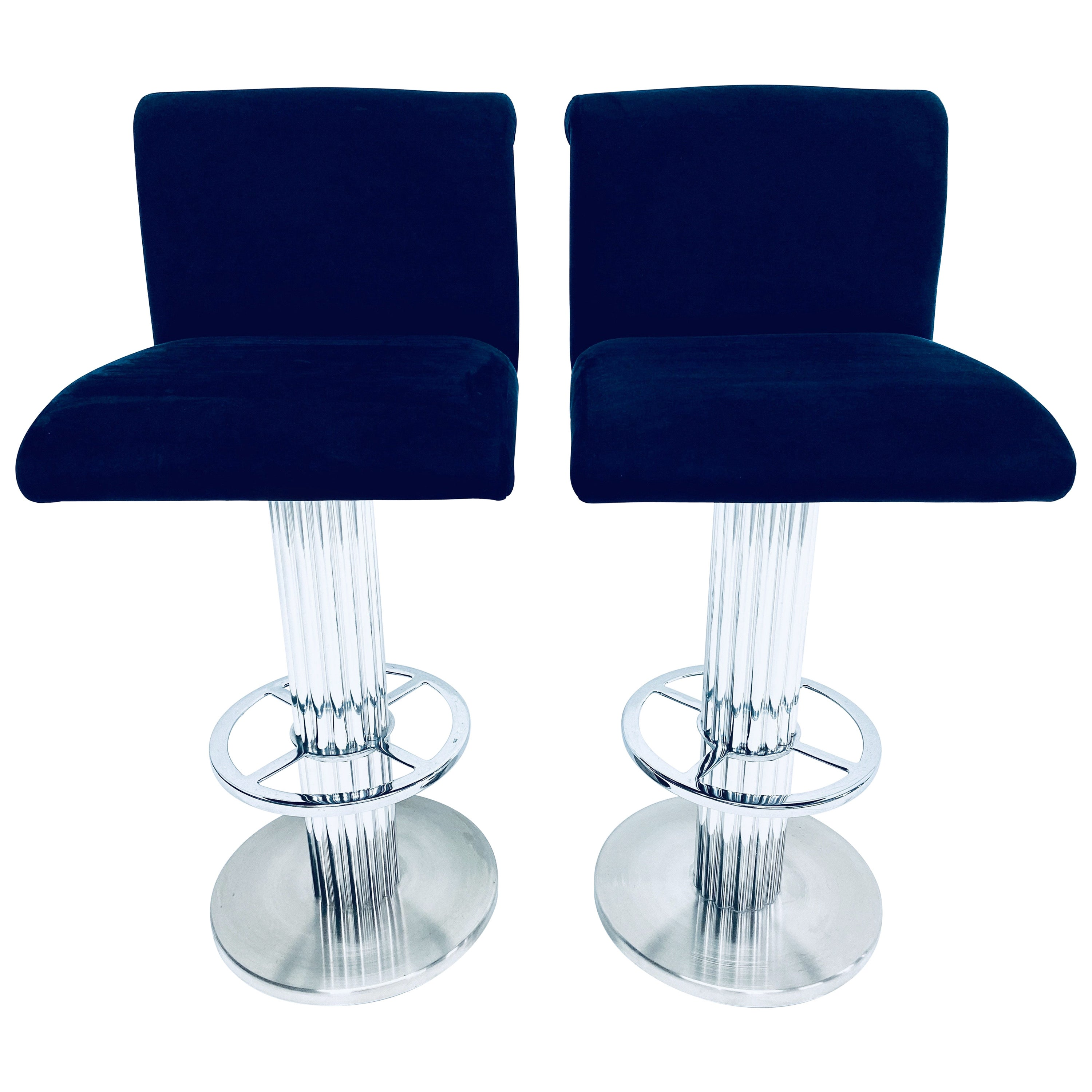 Pair of Designs for Leisure Blue Ultra-Suede Bar Stools