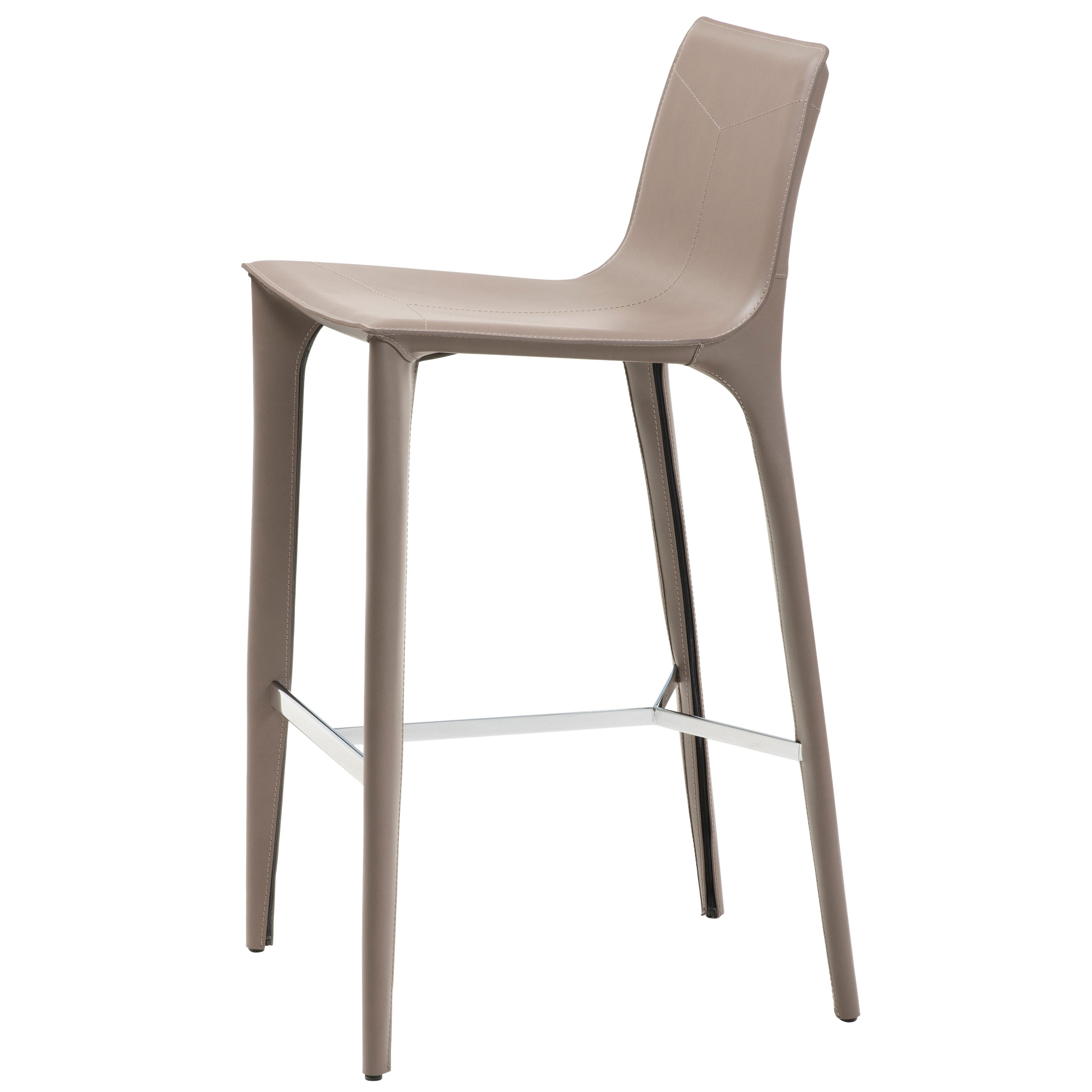 HOLLY HUNT Adriatic Bar Stool in Polished Chrome and Pine Bark Leather Finish