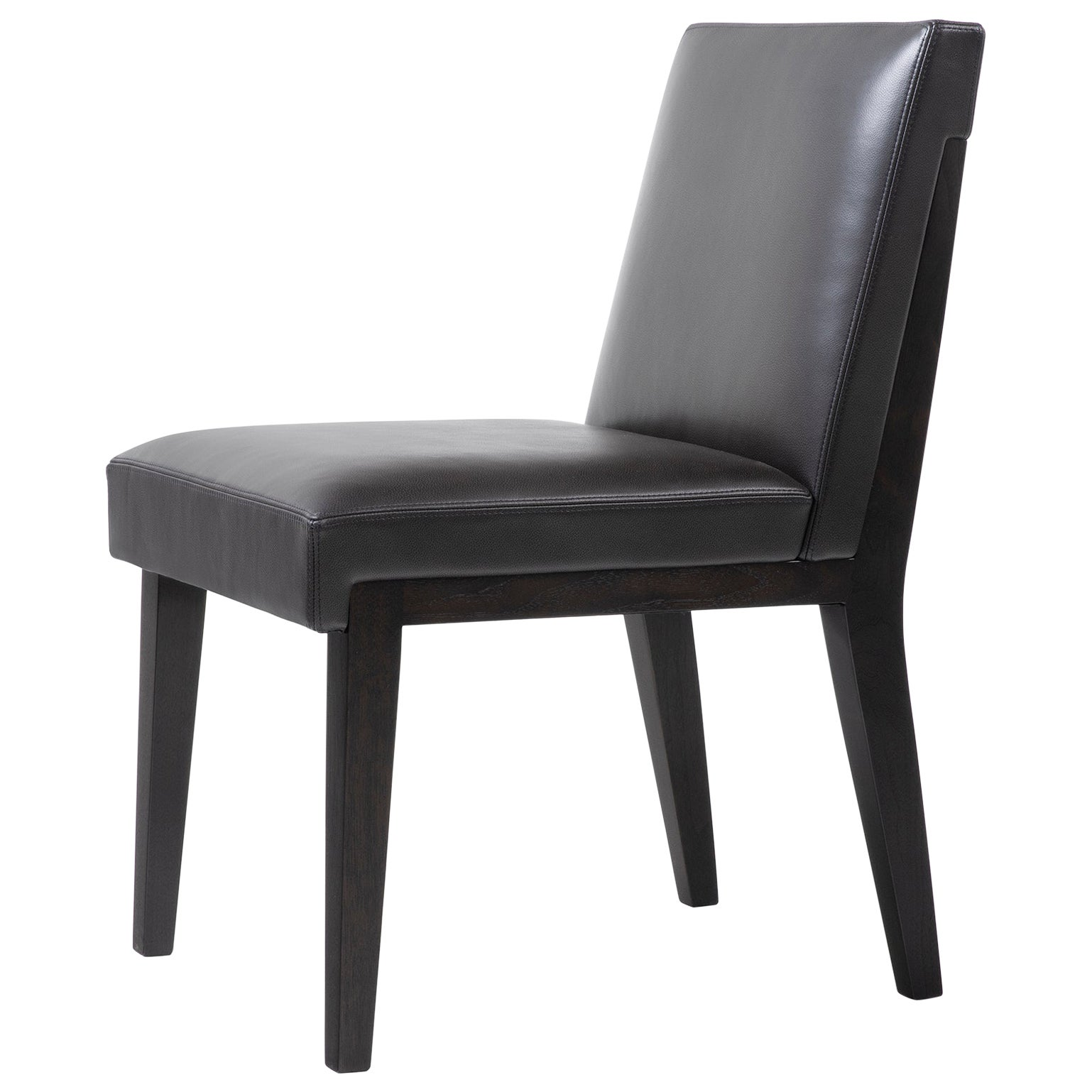 HOLLY HUNT Hampton Dining Side Chair Walnut Black Magic and Leather Upholstery