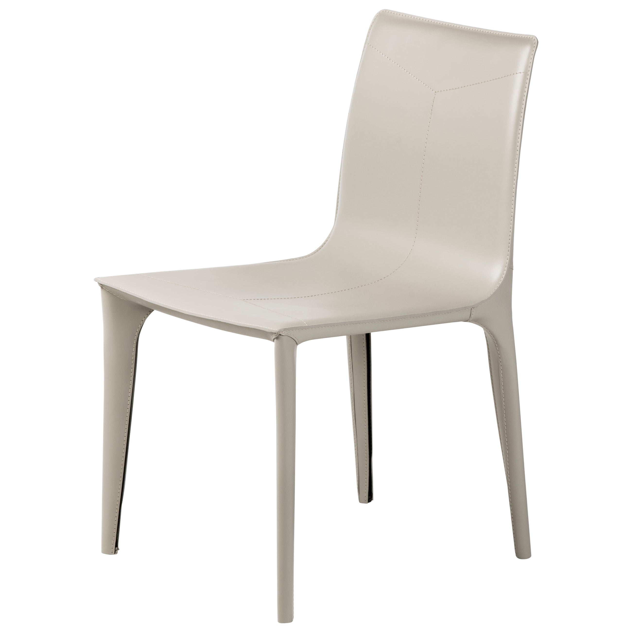 HOLLY HUNT Adriatic Dining Side Chair in Leather Ice Grey Finish