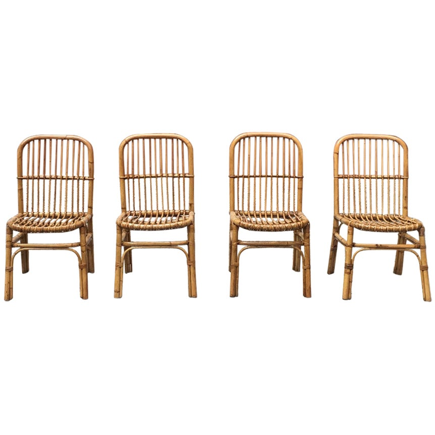 Italian vintage rattan chairs, 1960s