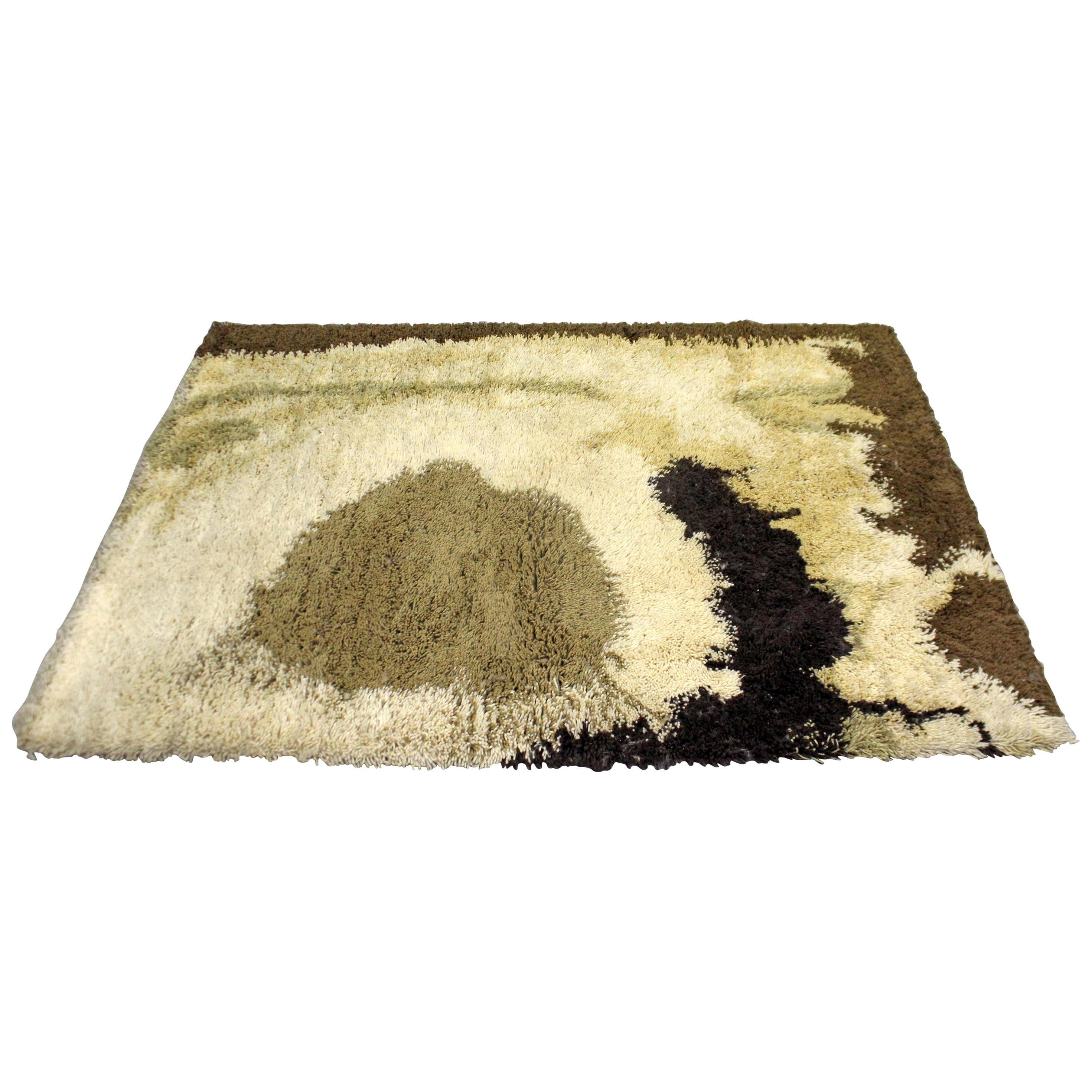 Midcentury Danish Modern Ege Rya Wool Shag Rug 'Sunrise Lo'