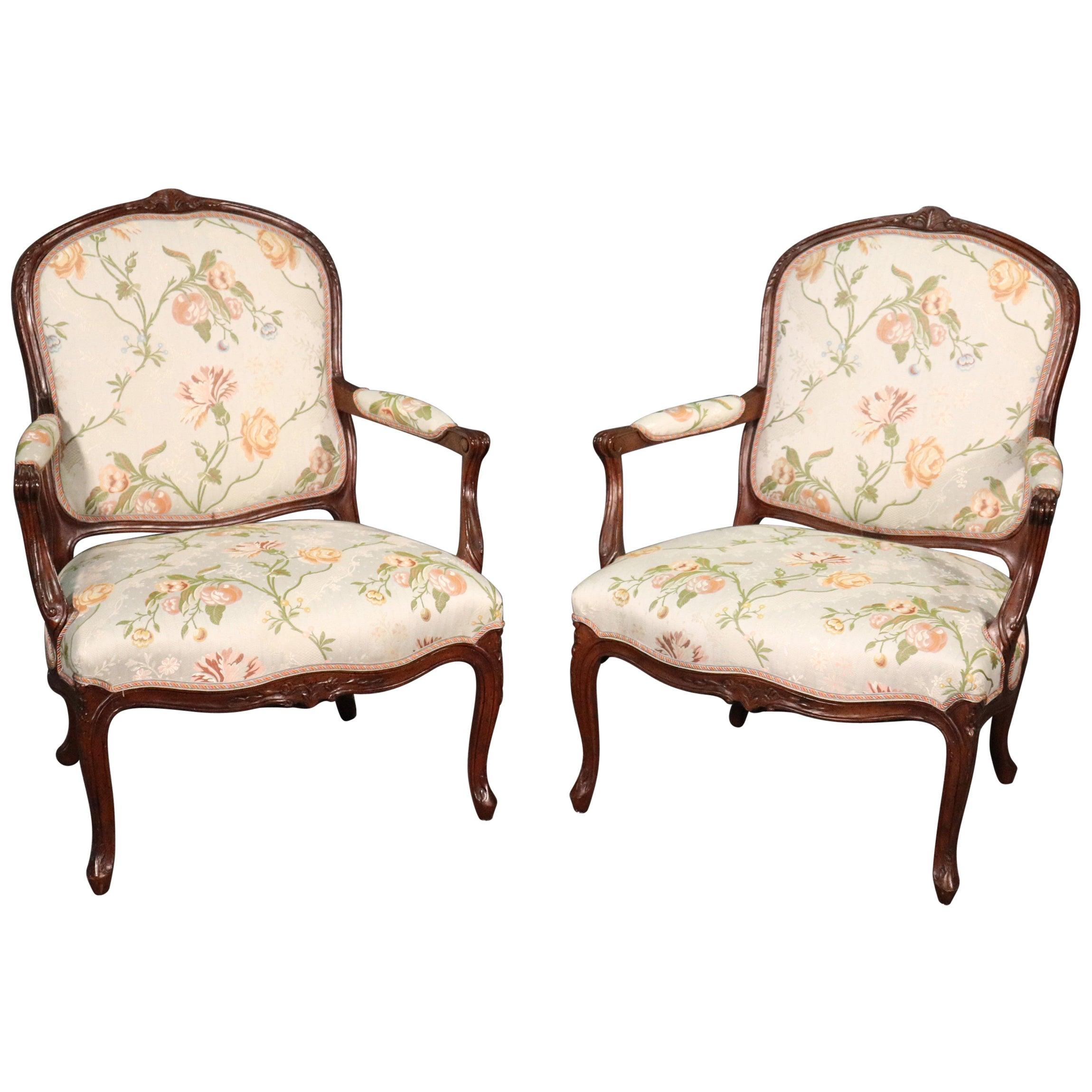 Fine Pair of French Louis XV Walnut Upholstered Open Bergère Open Armchairs