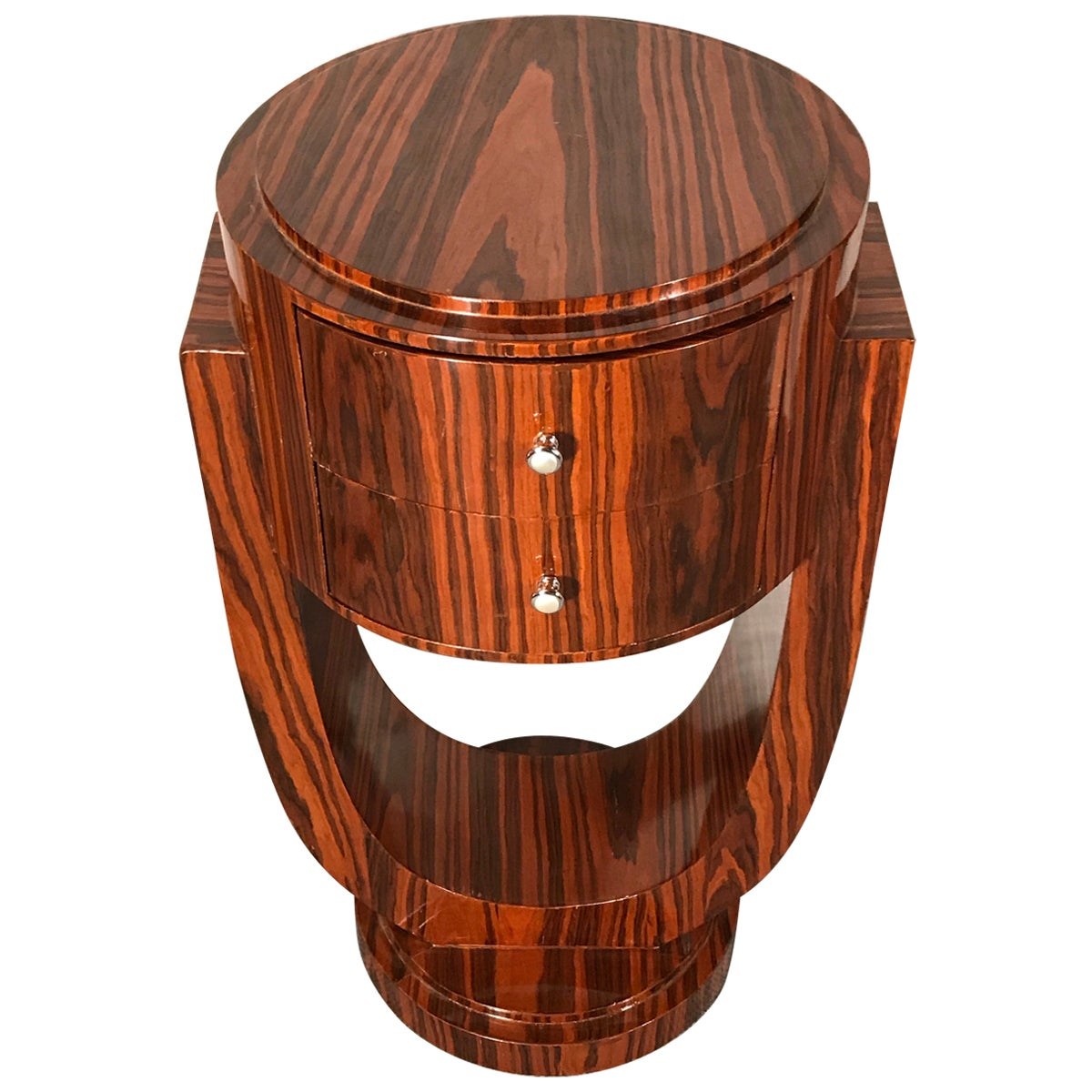 Art Deco Side Table, France 1920-1930, Makassar Ebony Wood Veneer