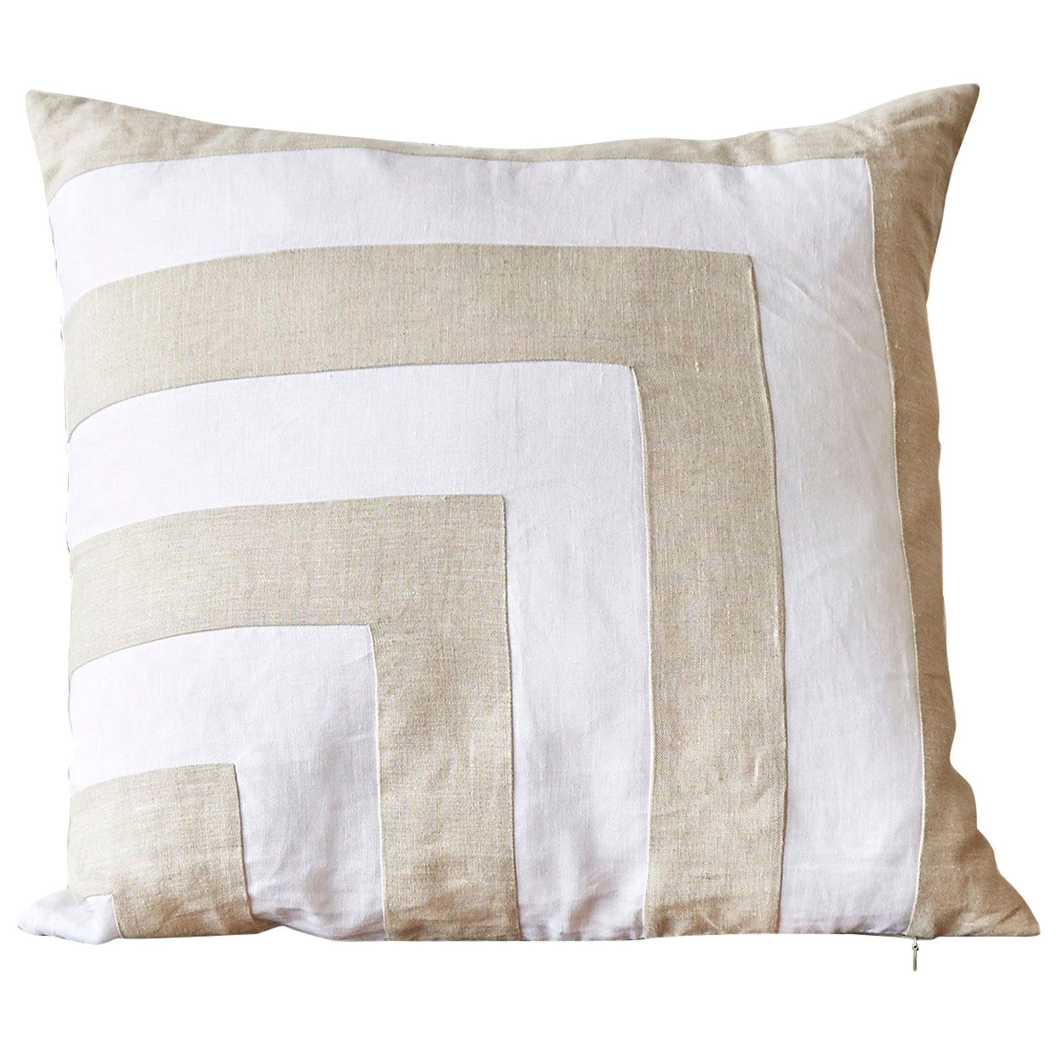 Large Irish Linen Pillow Cushion Vintage White Natural Patchwork