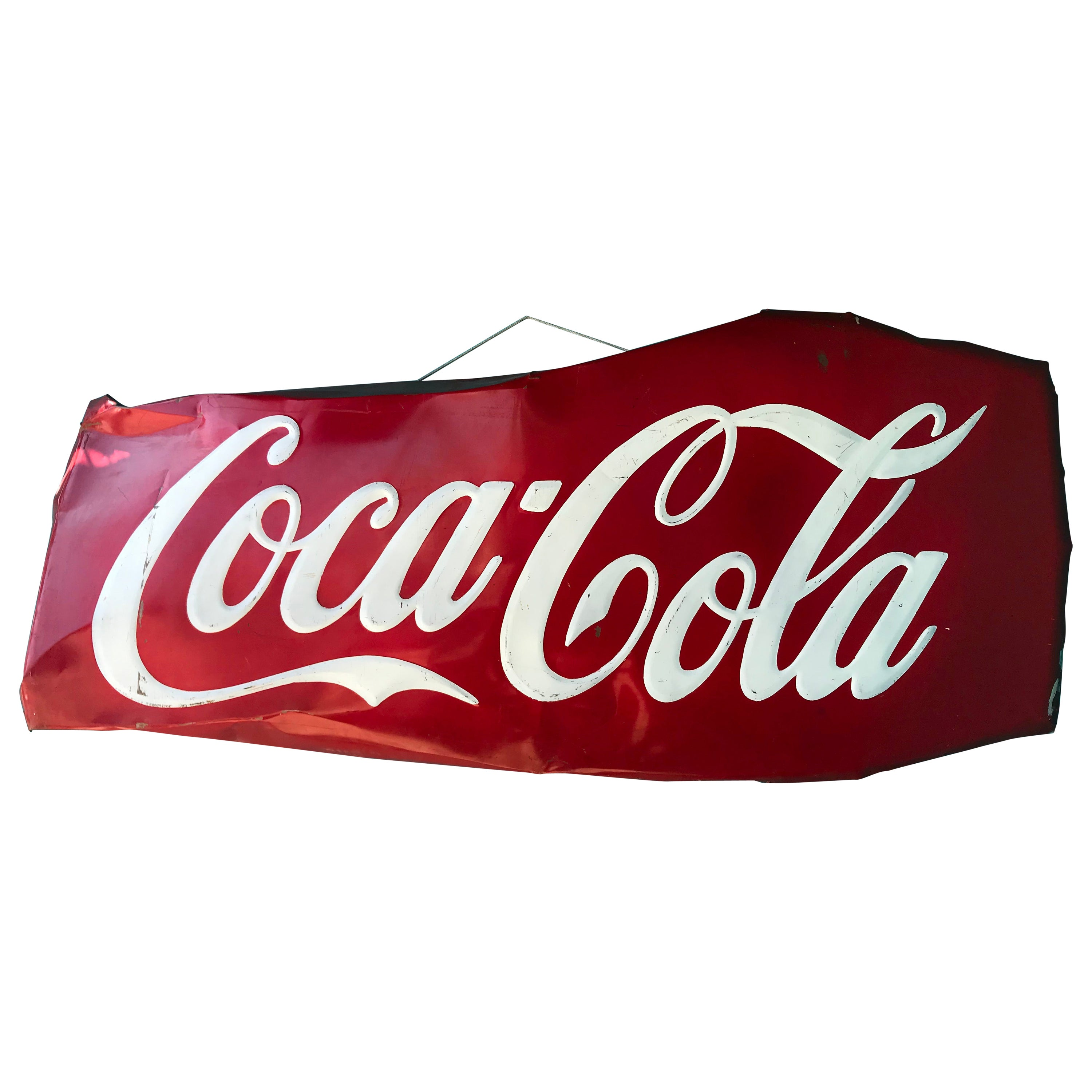 Monumental 7ft Mexican Coca Cola Advertising Porcelain Sign, 1960s