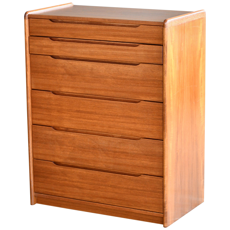 Danish Midcentury 1960s Tall Teak Dresser or Chest of Drawers