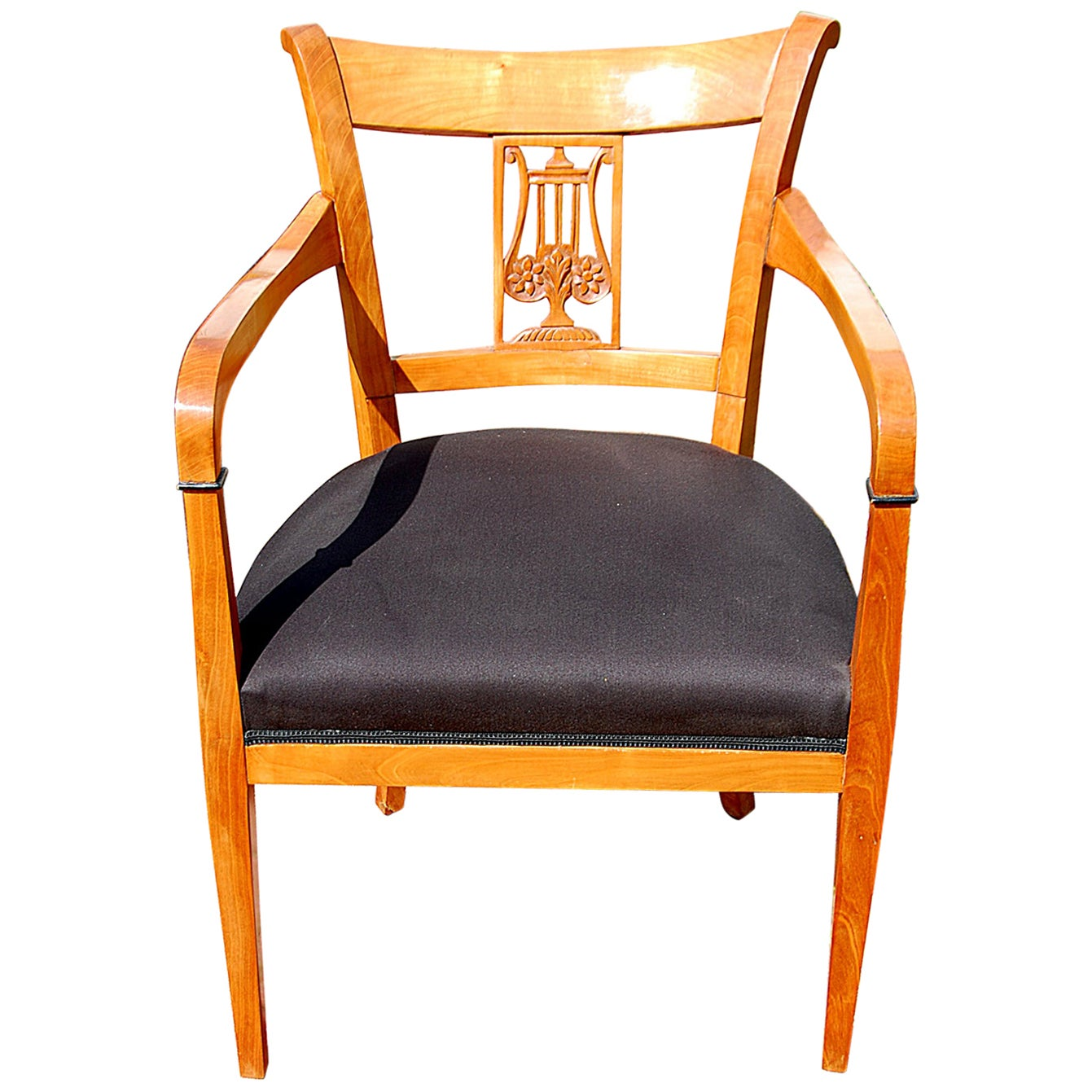 Continental 19th Century Biedermeier Cherry Armchair with Carved Lyre Back