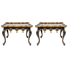 Pair of Mirrored Verre Églomisé Black and Gold Carved Tables