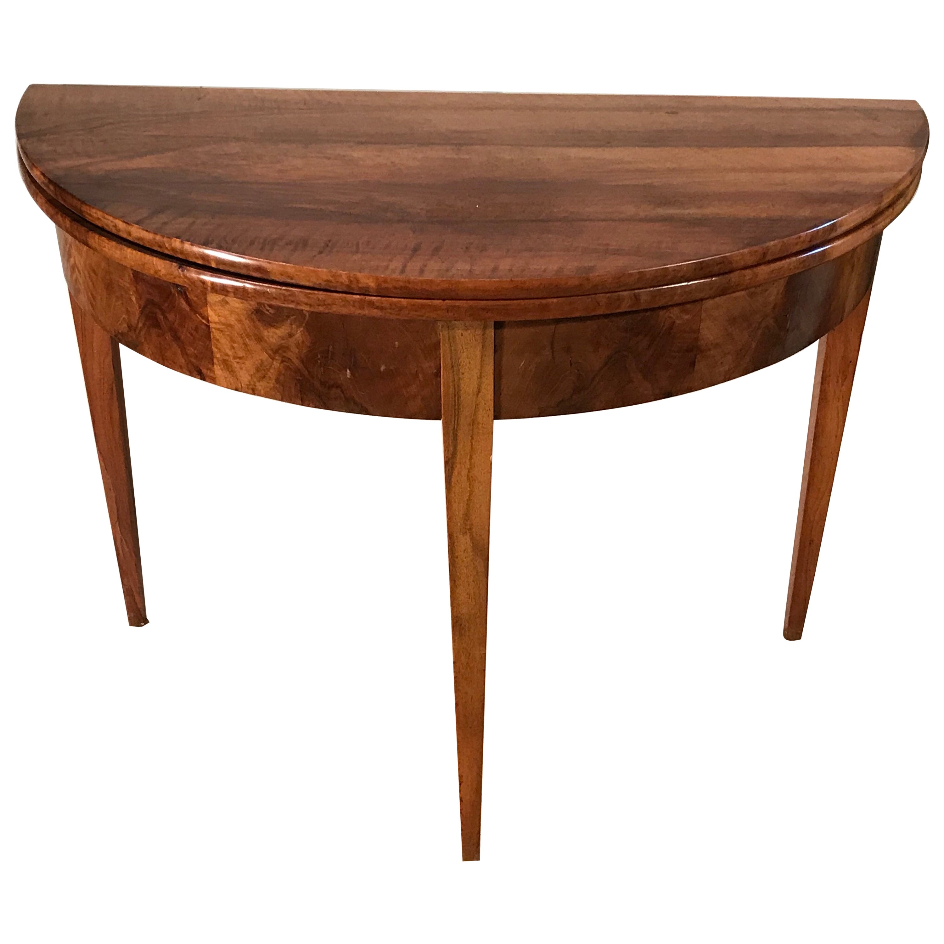 Biedermeier Demilune Table, 1820, Walnut Veneer