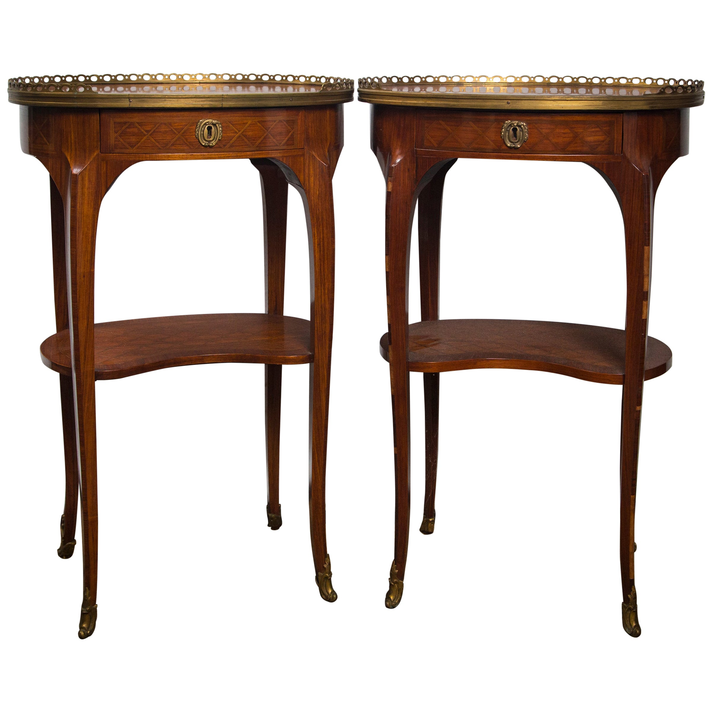 Pair of Mahogany and Brass Inlaid End Tables