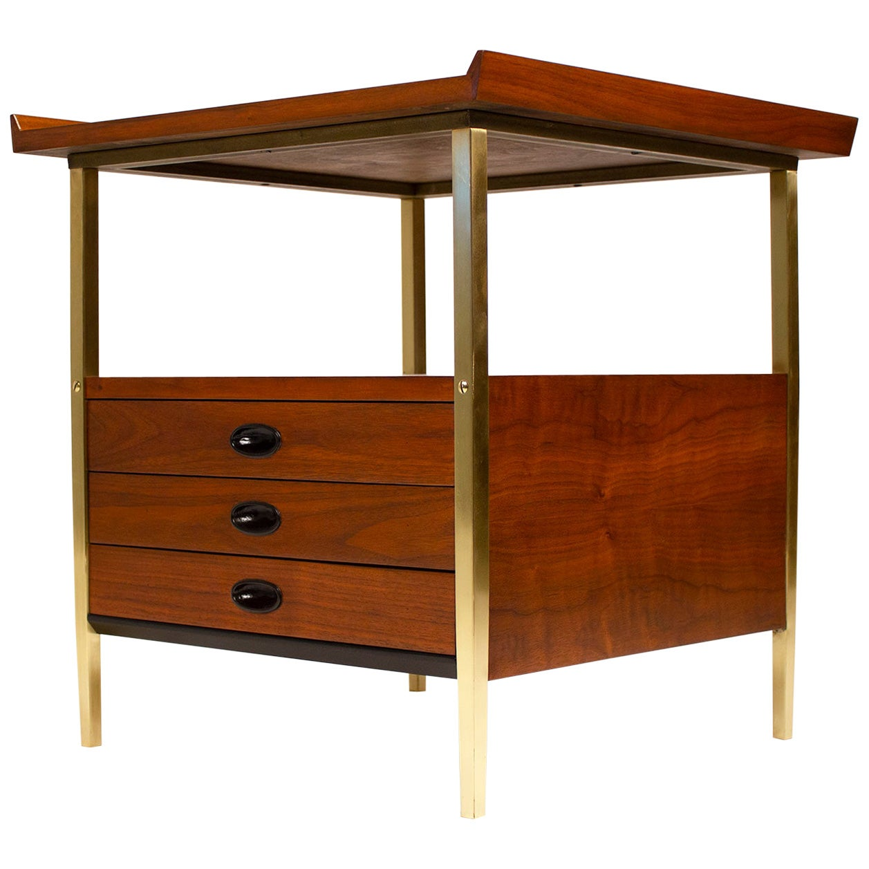Nightstands, Milo Baughman for Arch Gordon Walnut and Solid Brass