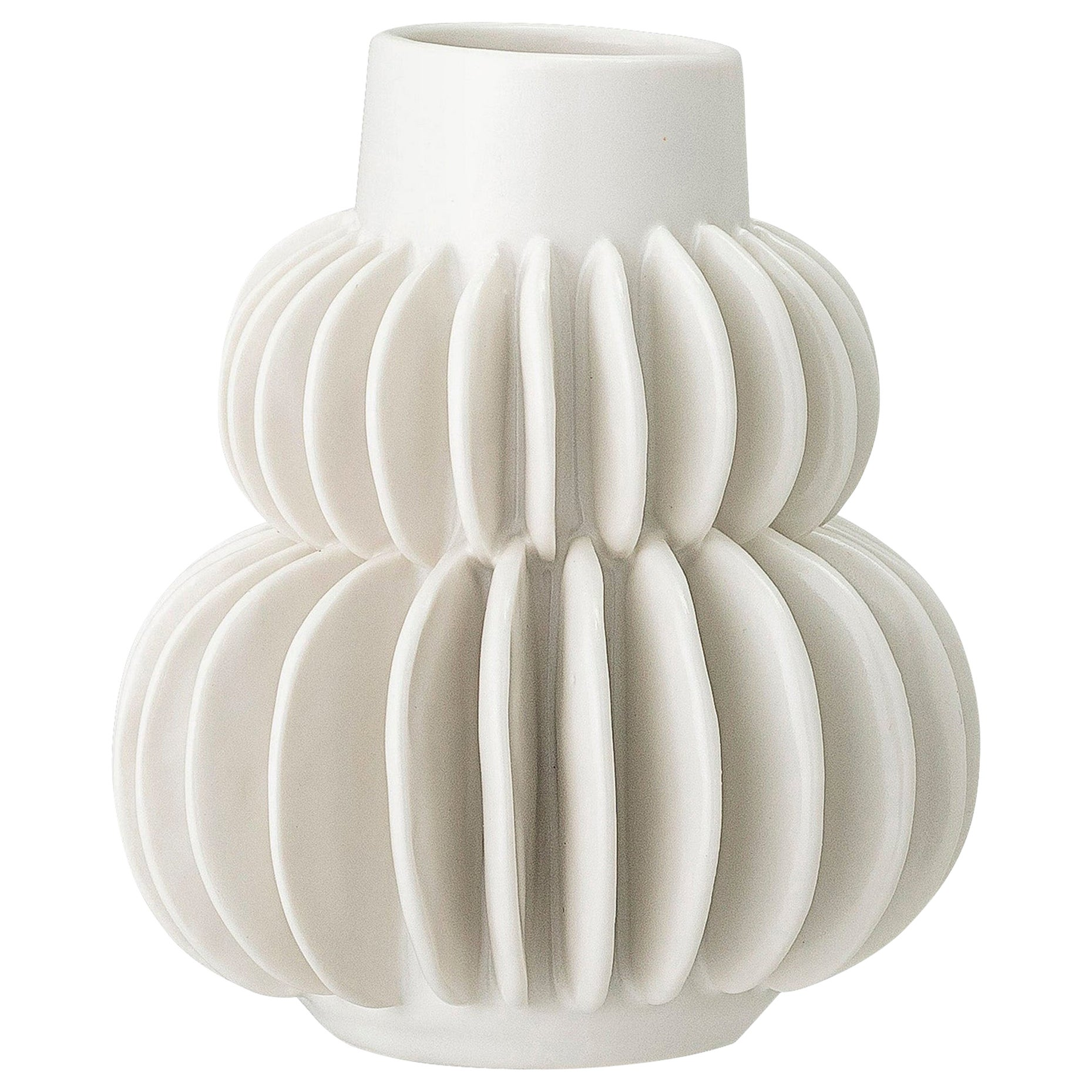 Handcrafted White Mat Glazed Brutalist Era Style Accordion Vase