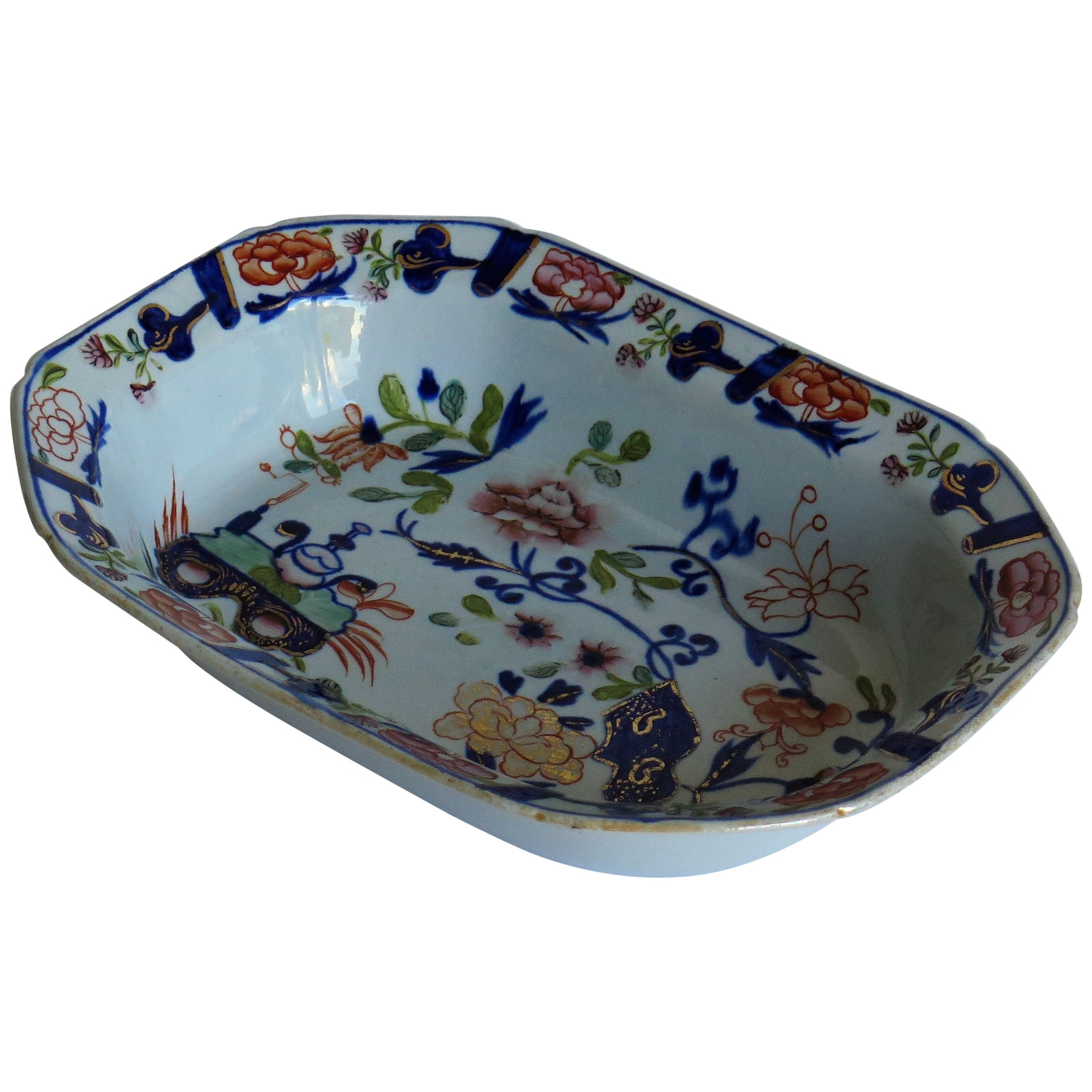 Georgian Mason's Ironstone Pie Dish in Small Vase Flowers & Rock Ptn, circa 1815
