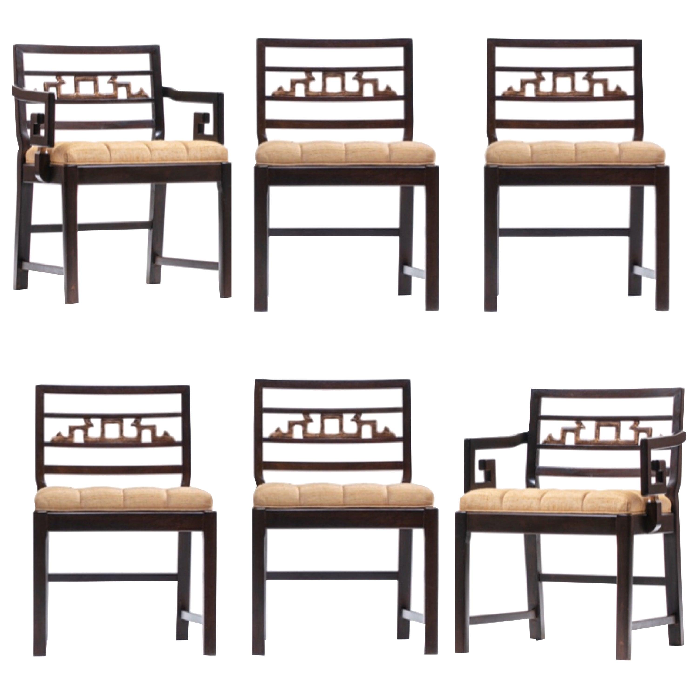 Baker Asian Chinoiserie Mahogany Dining Chairs Set of Six, circa 1950