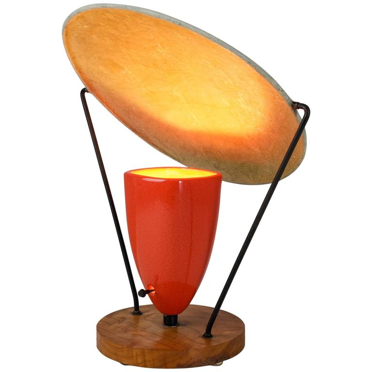 Mitchell Bobrick Red Ceramic Table Lamp With Epoxy Shade, USA, 1950s 1