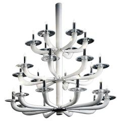 Large Triple Tier White Murano Glass Chandelier