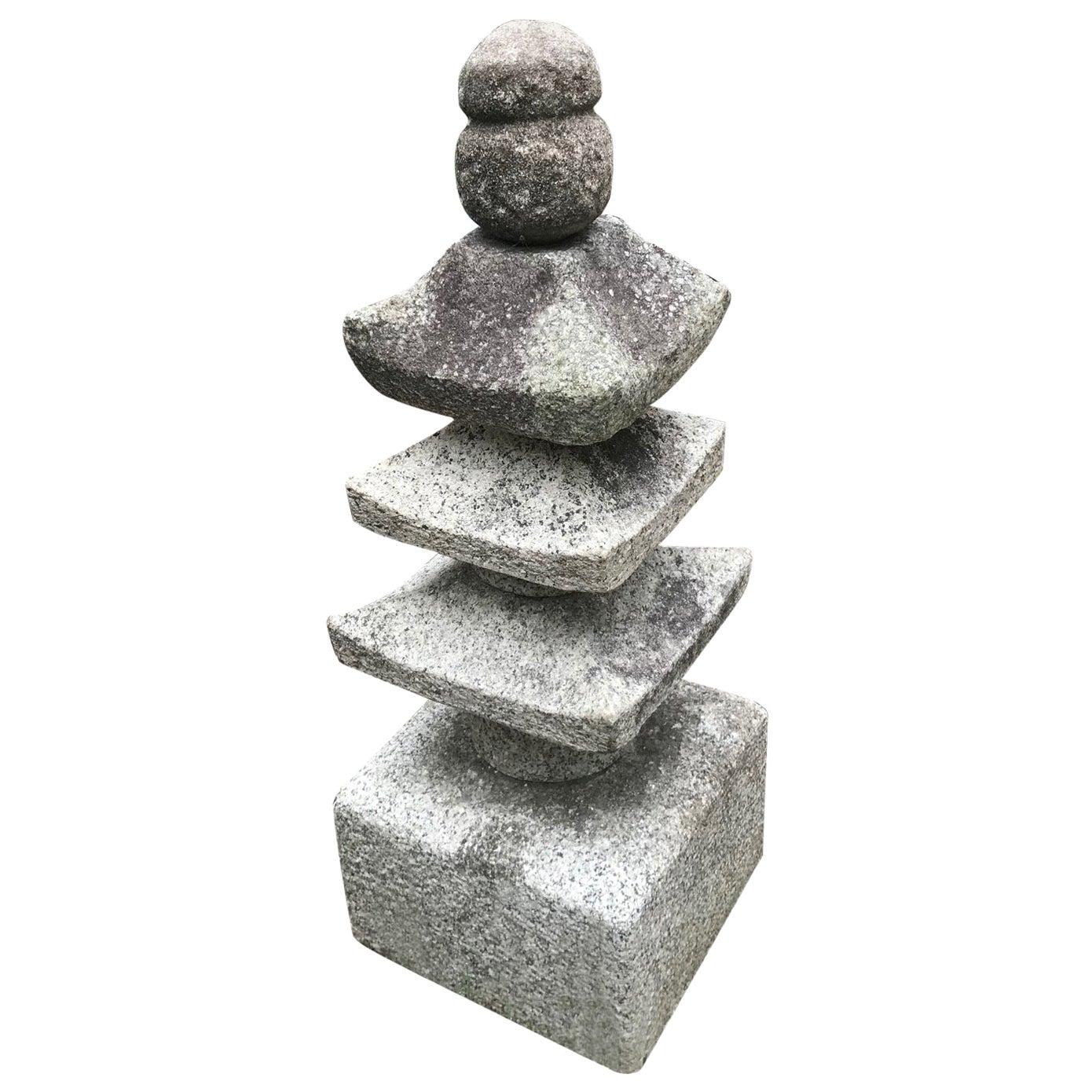 "Japan Antique ""Three Roof"" Pagoda Stone Sculpture"