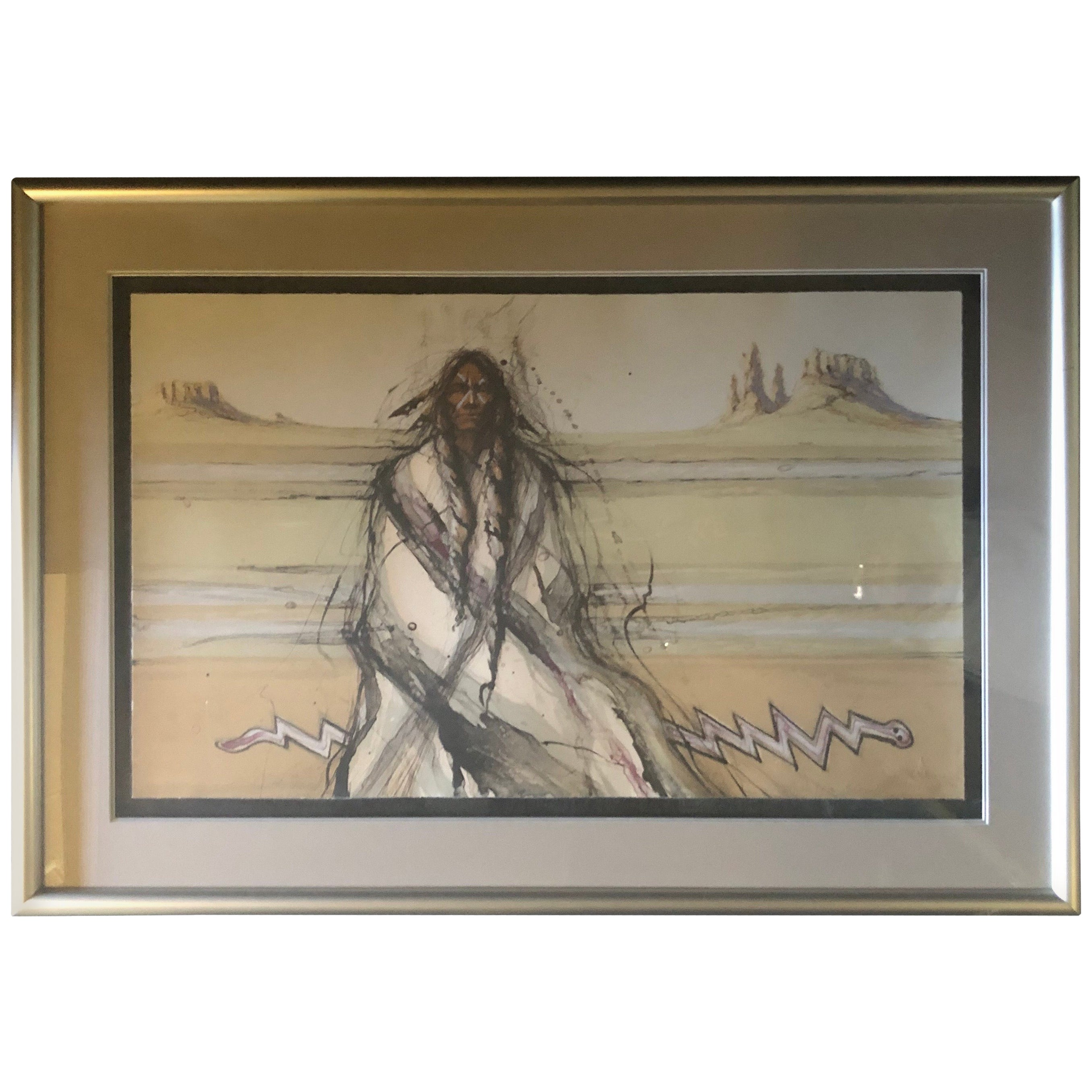 "Triptych Limited Edition Lithographs ""Snake Running Backwards"" by Larry Fodor"