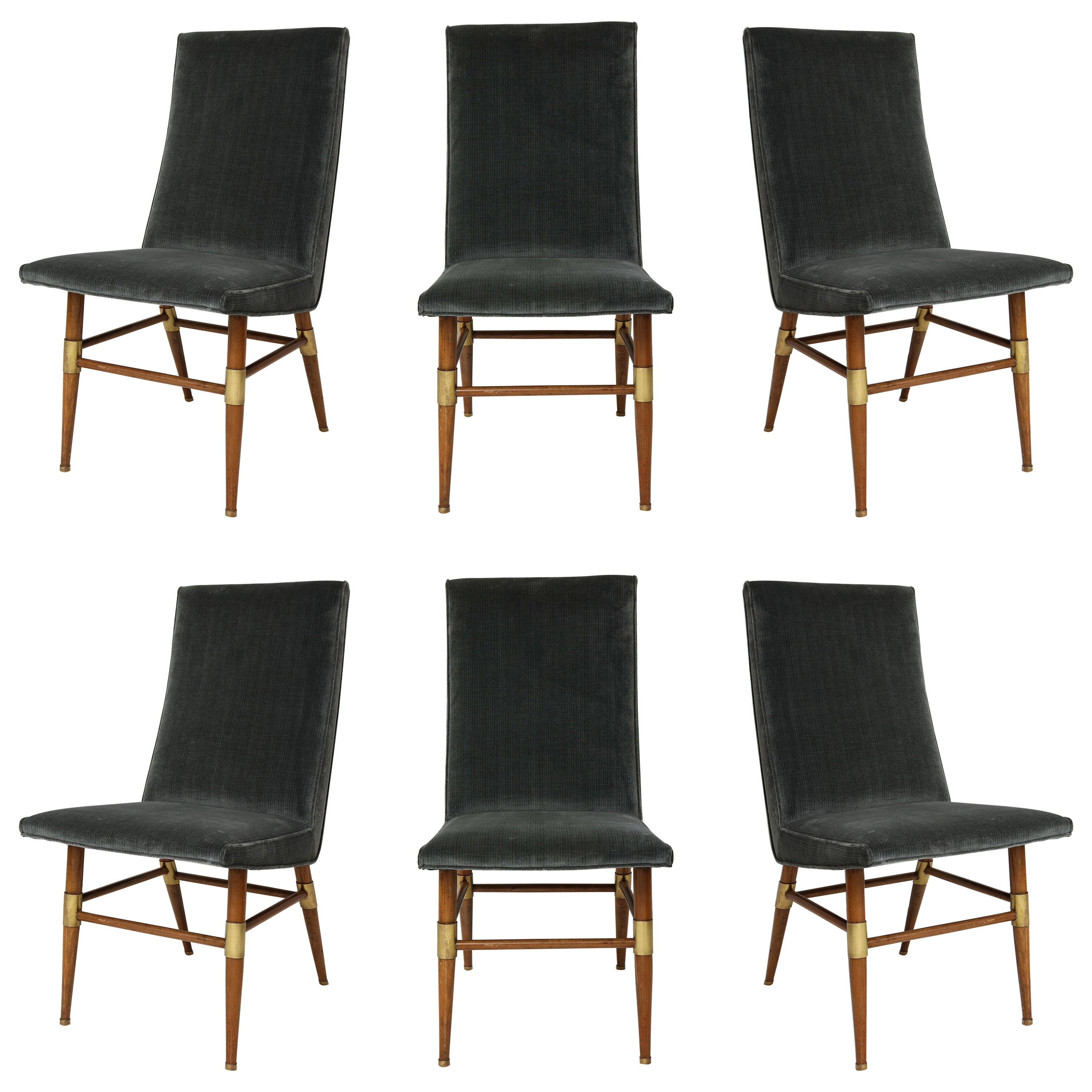 Set of Six Italian Mid-Century Modern Dining Chairs, Recently Upholstered
