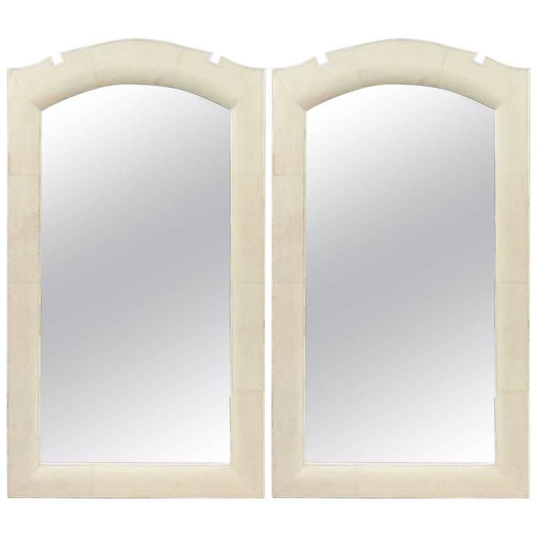 Modern French Art Deco Style Bone Inlaid Reen Wall Mirrors For