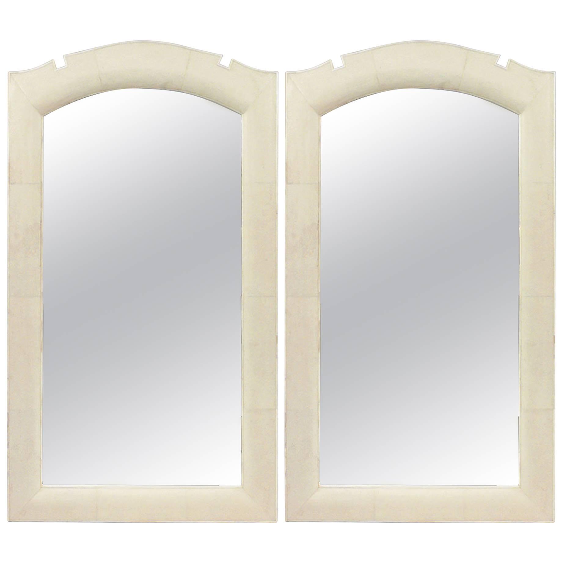 Modern French Art Deco Style Bone-Inlaid Shagreen Wall Mirrors