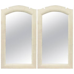 Modern French Art Deco Style Bone-Inlaid Shagreen Wall Mirrors