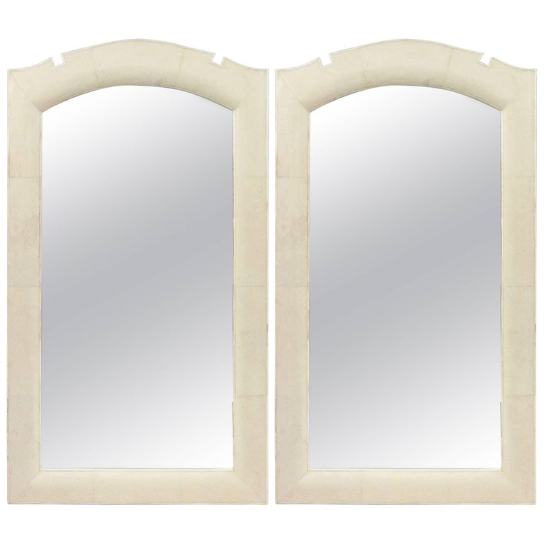 Modern French Art Deco Style Bone-Inlaid Shagreen Wall Mirrors For Sale
