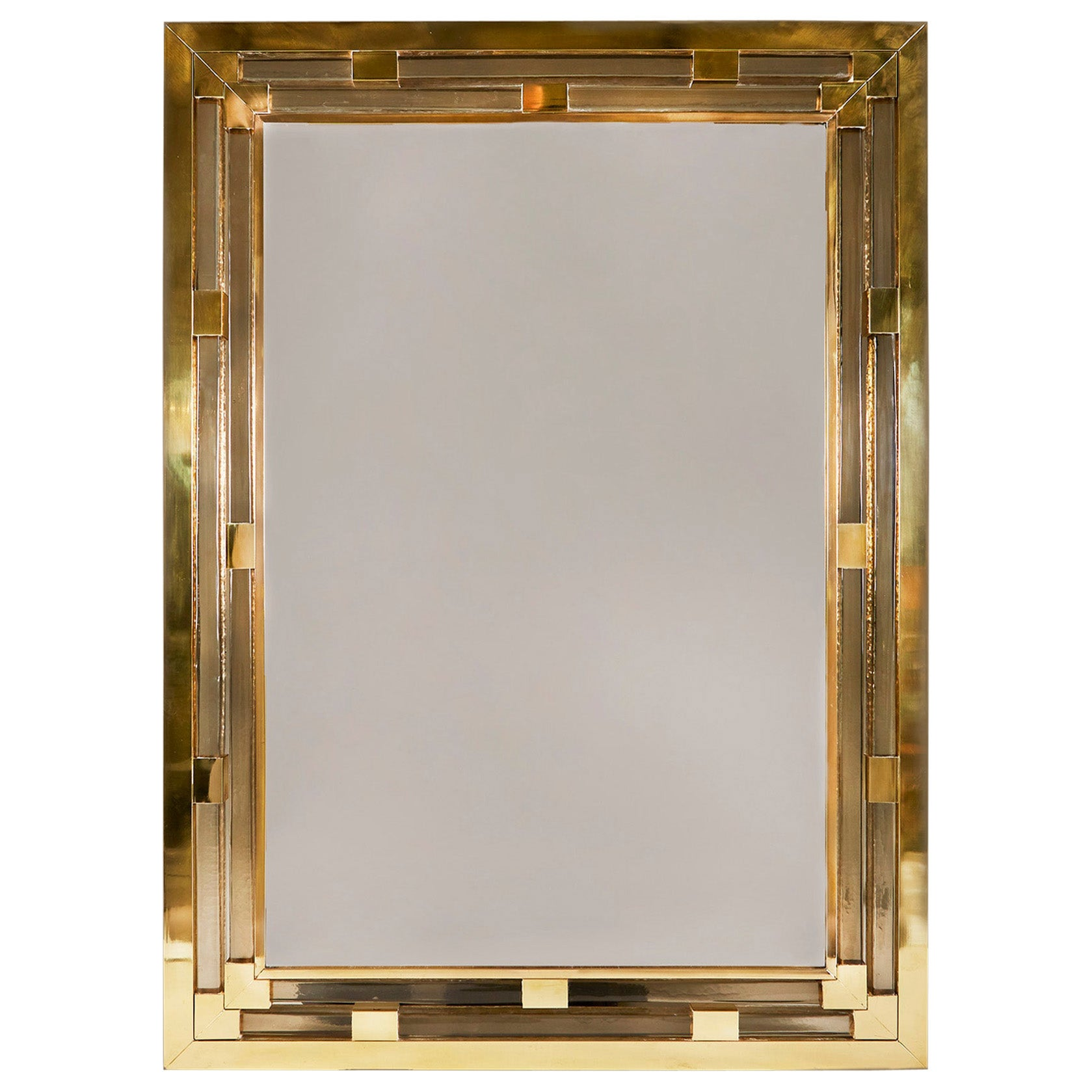 Contemporary Brass and Murano Glass Wall Mirror