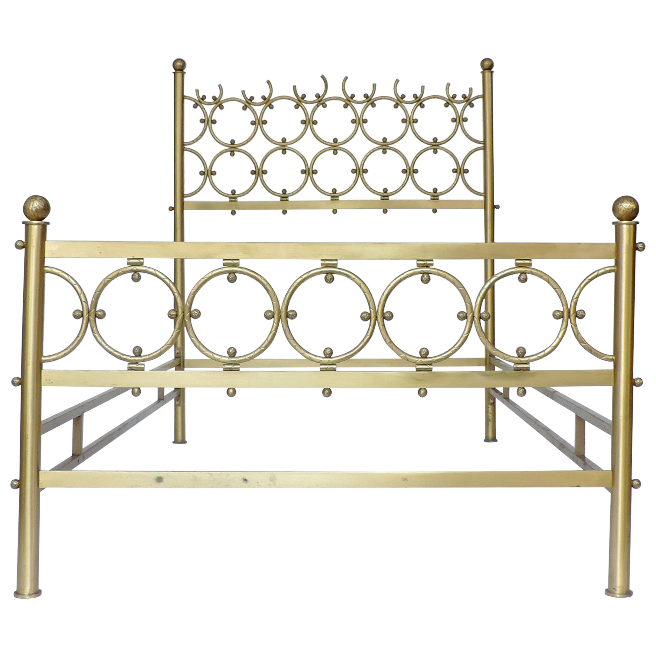 Single Brass Bed in the Style of Osvaldo Borsani, Italy, 1950s