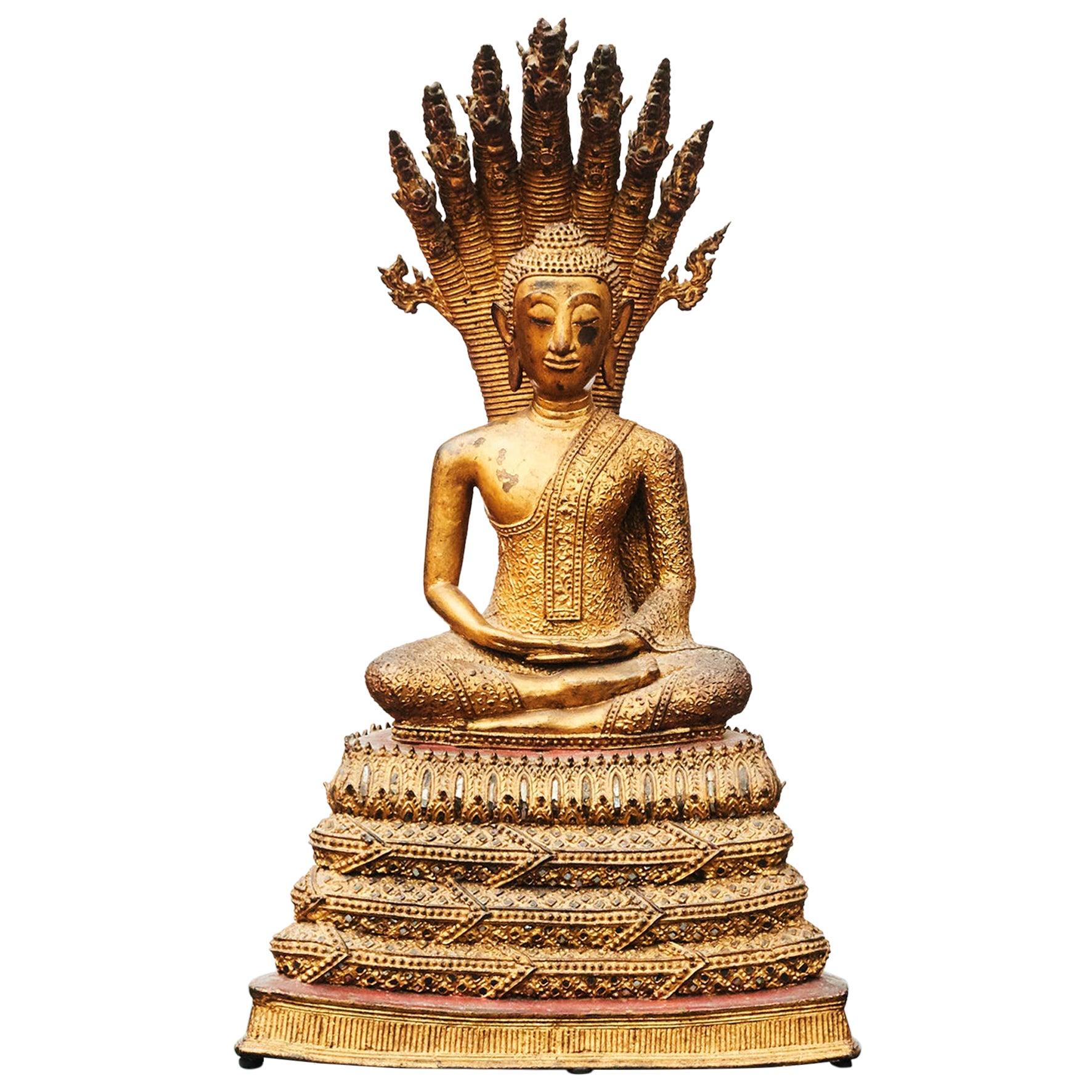 Rare 19th Century Bronze Naga Buddha Statue