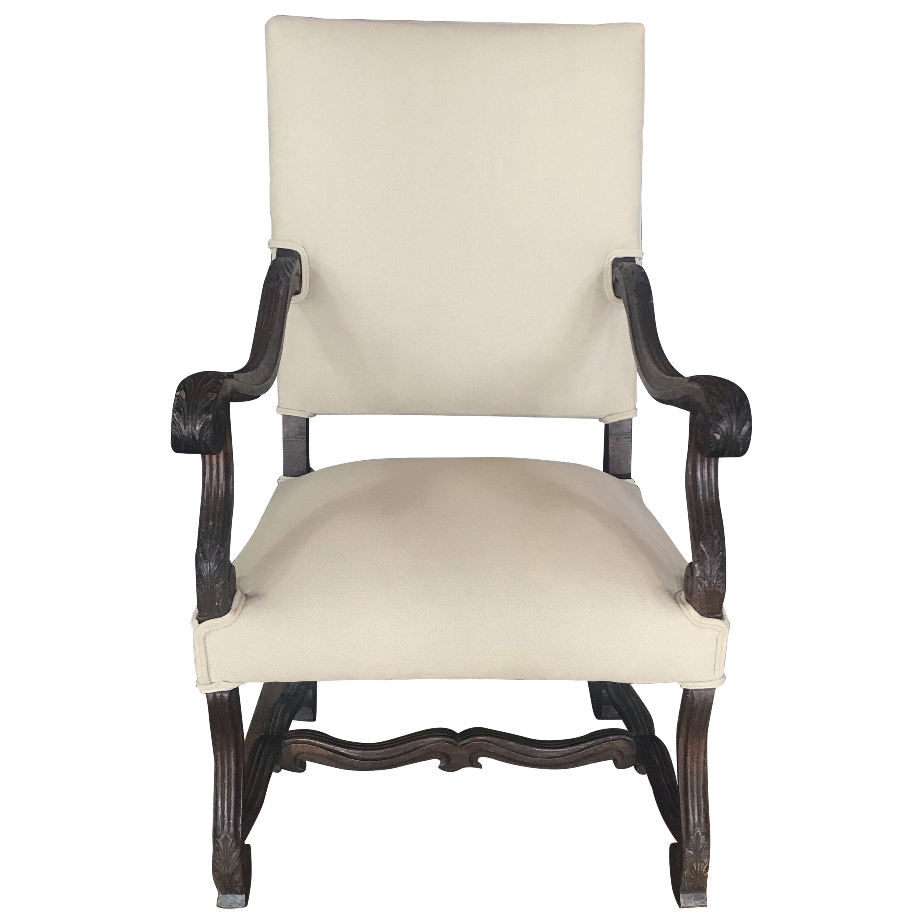 French 19th Century Walnut Carved Louis XV Armchair