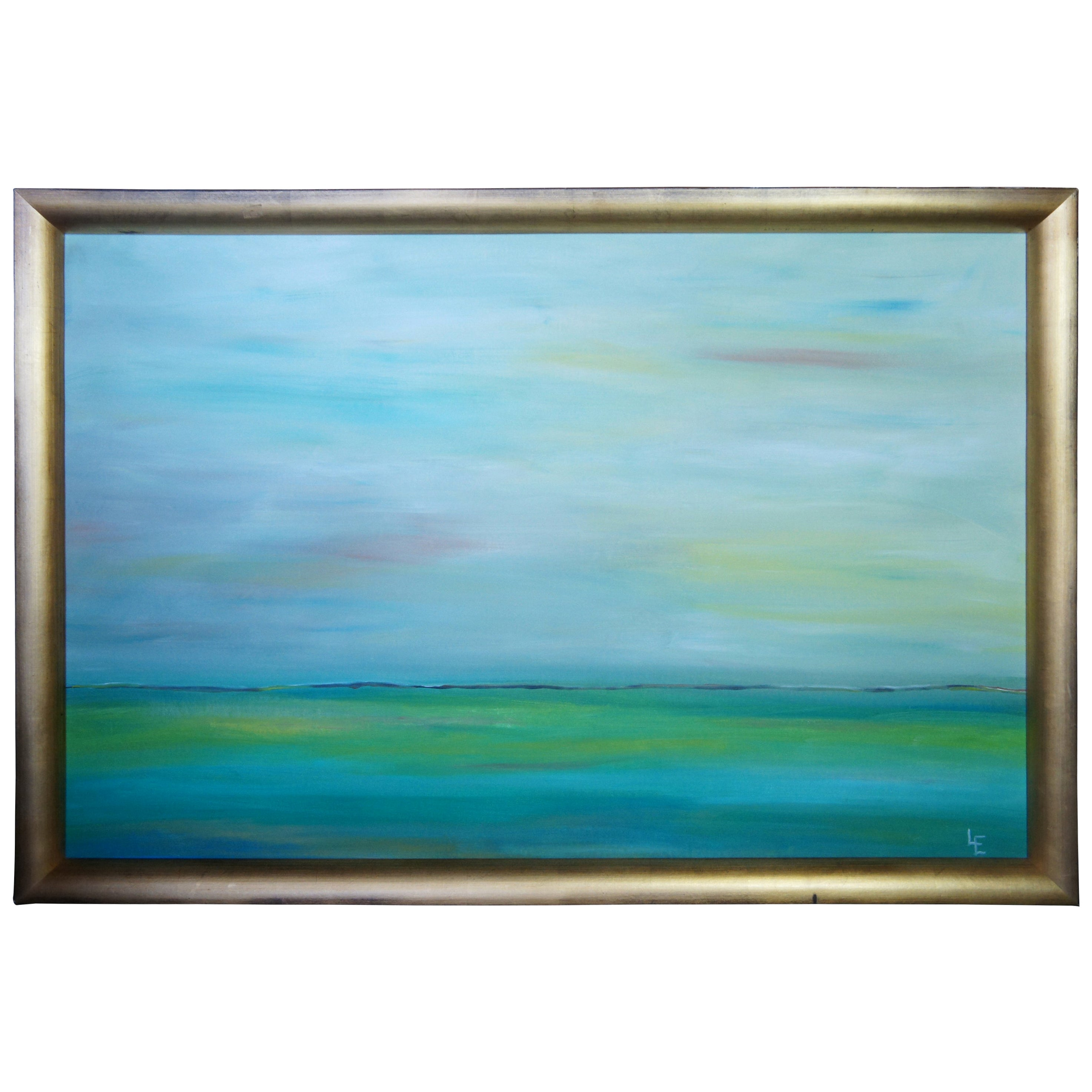 Original Abstract Impressionist Seascape Oil Painting Modern Frame Signed LE