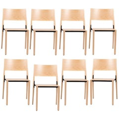 BASE - 8-Set Dietiker Wood Dining Chair, Natural by Greutmann Bolzern, In Stock