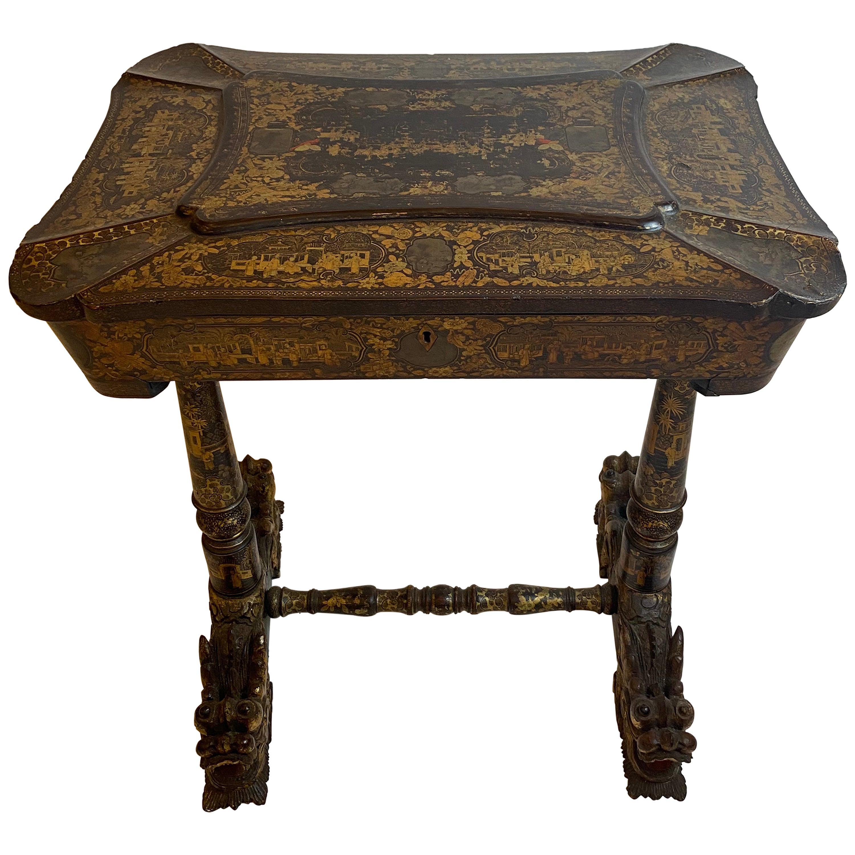 Early 19th Century Chinese Export Lacquer and Gilt Work Table