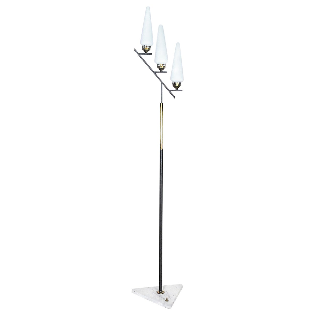 Stilnovo Italian Midcentury Floor Lamp in Brass and Opaline from the 1950s