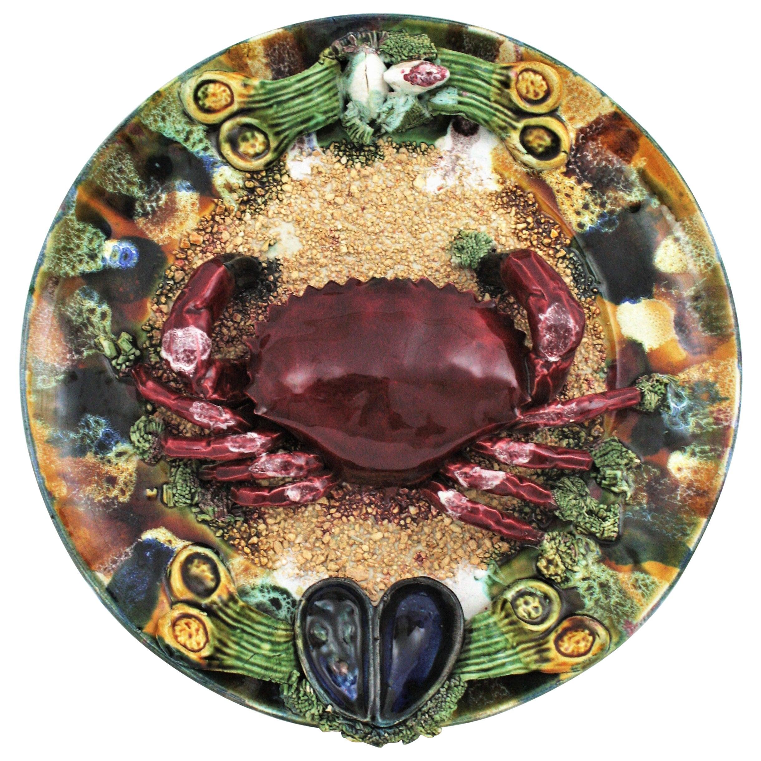 Extra Large Majolica Ceramic Trompe L' Oeil Wall Plate Crab Design