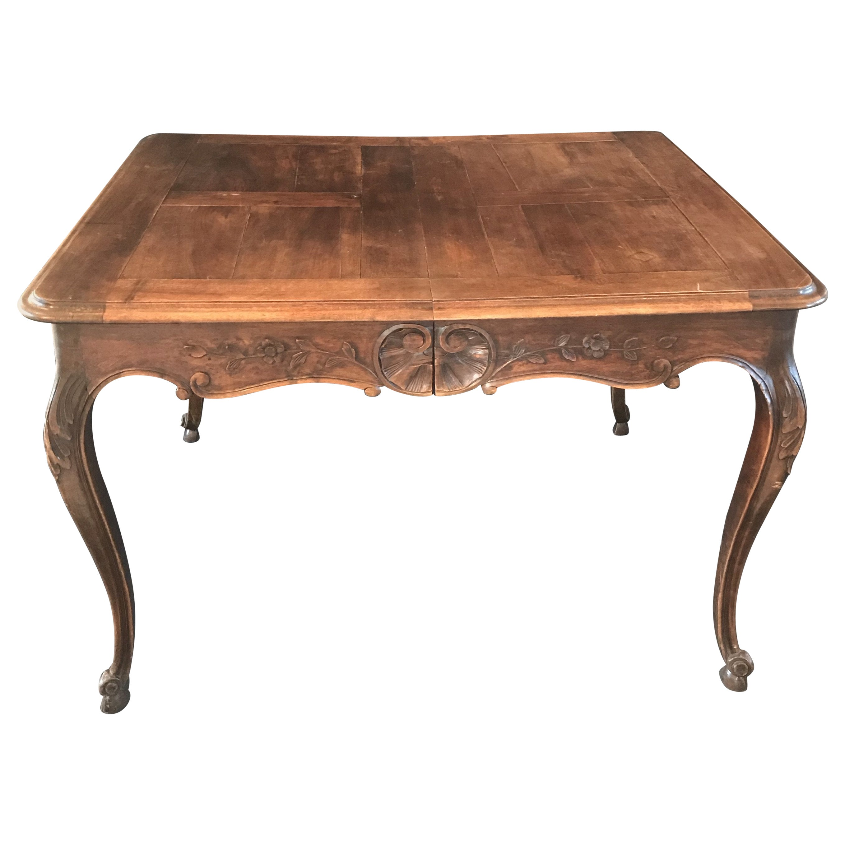 Beautiful 19th Century Country French Louis XV Carved Walnut Dining Table
