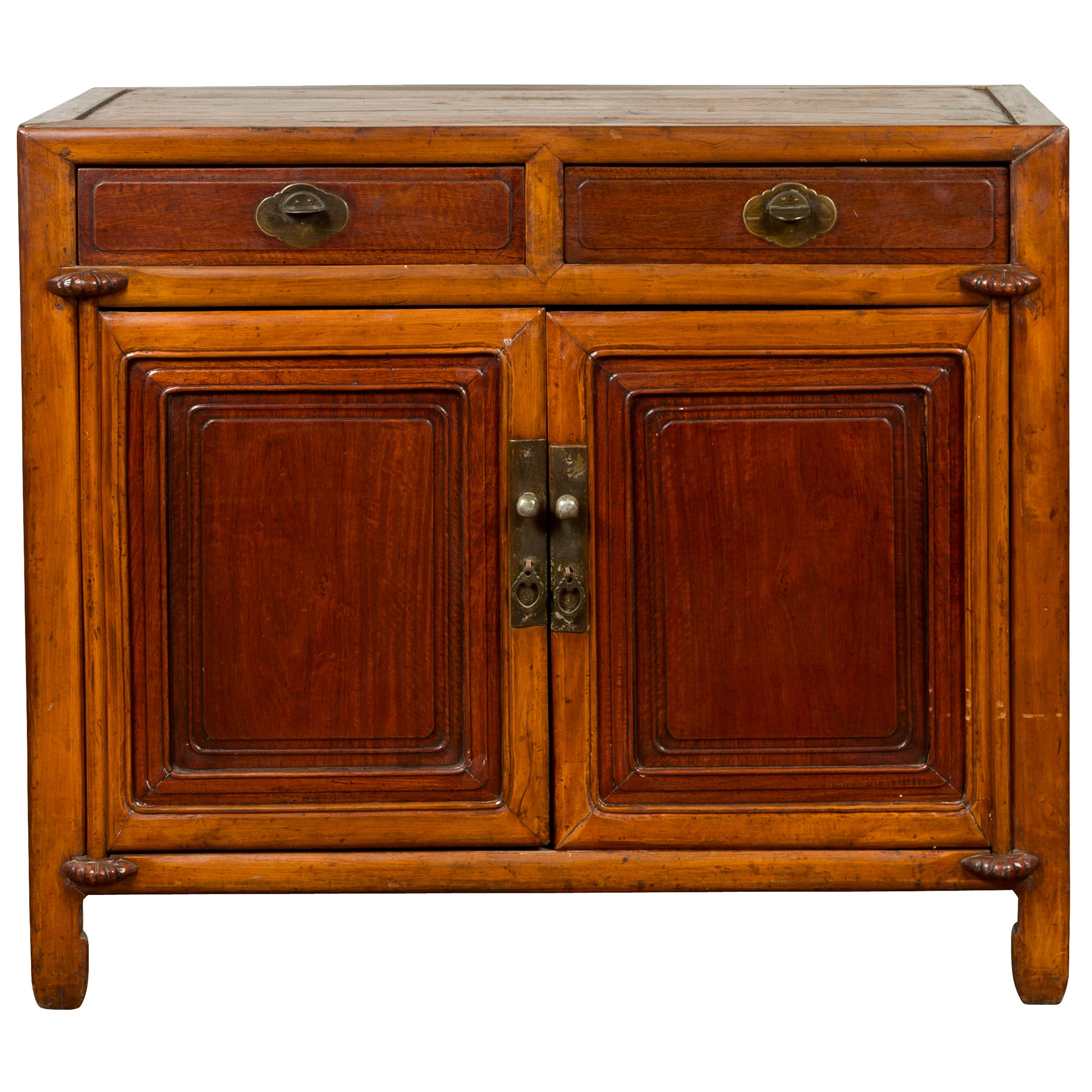 Vintage Chinese Two-Toned Cabinet with Drawers, Doors and Bronze Hardware