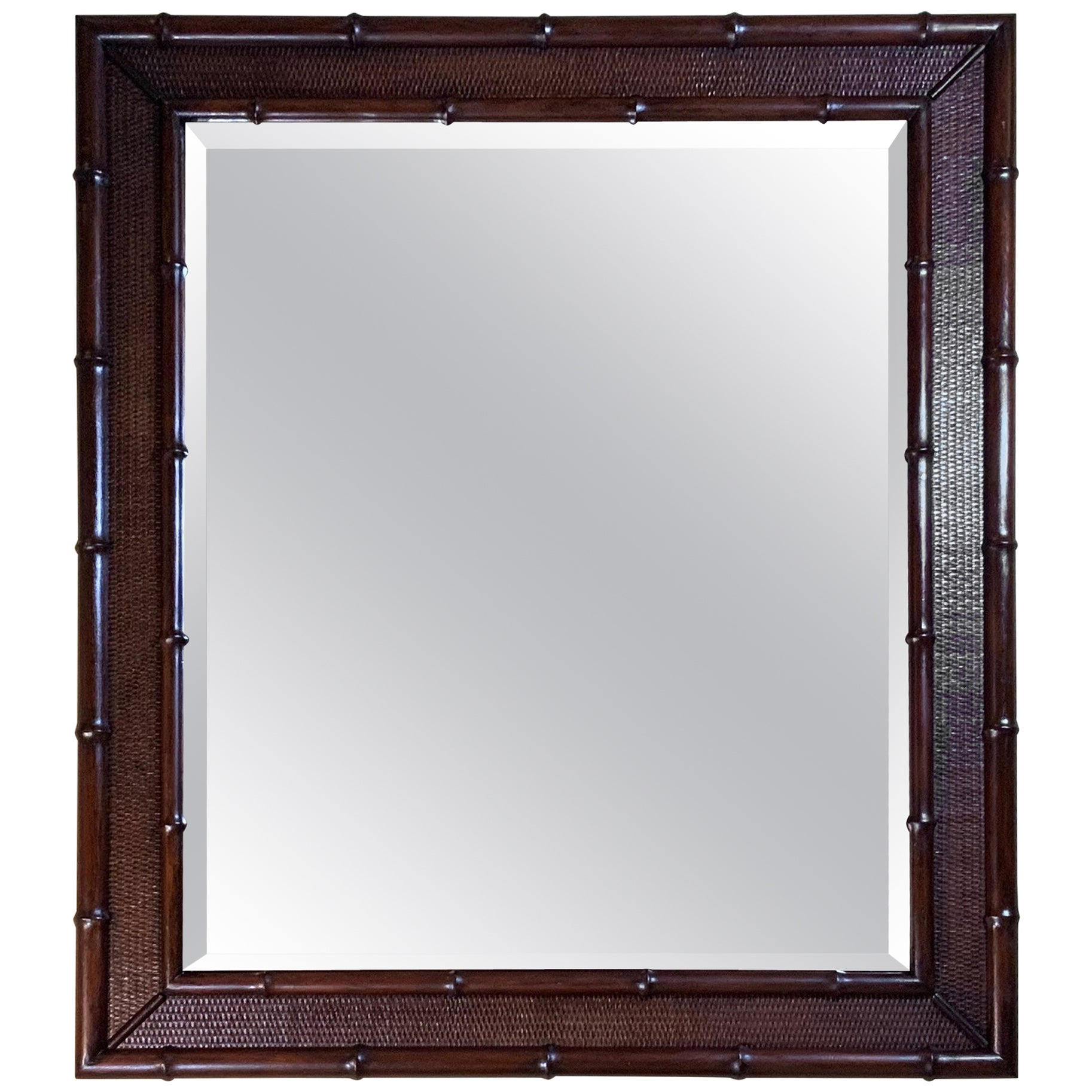 Large Solid Wood Carved Faux Bamboo Mirror