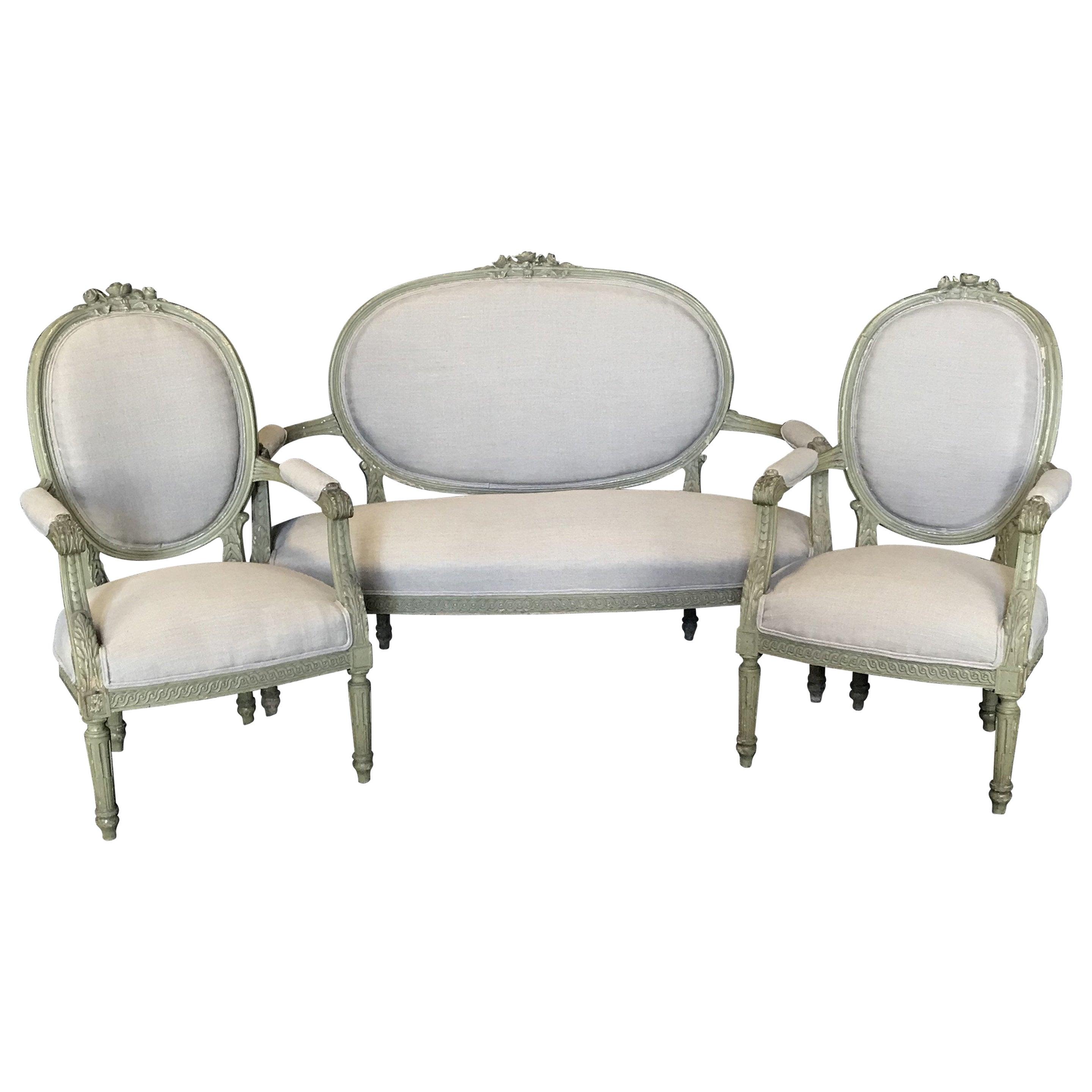 Lovely French Louis XVI Belle Epoque Parlor or Salon Set
