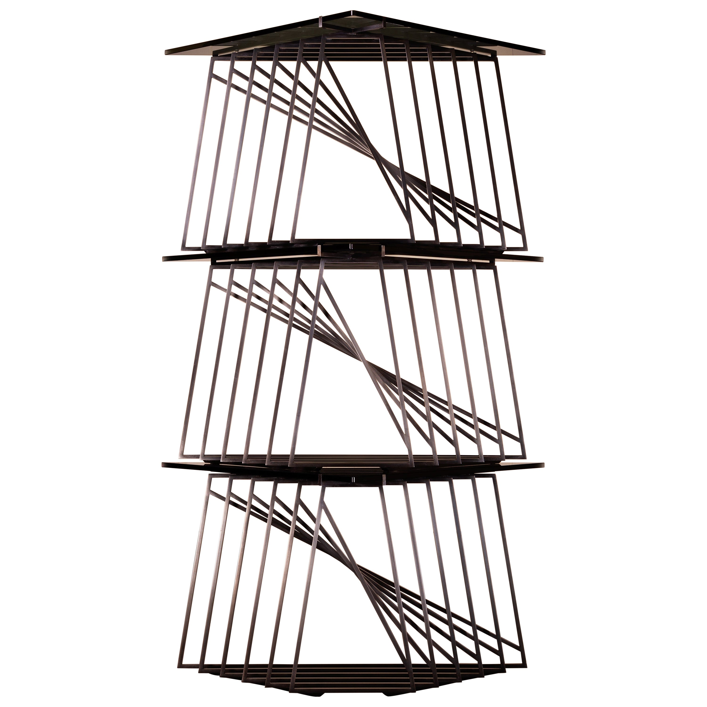 Modular Side Table Trio in Blackened Steel and Smoked Glass by Force/Collide