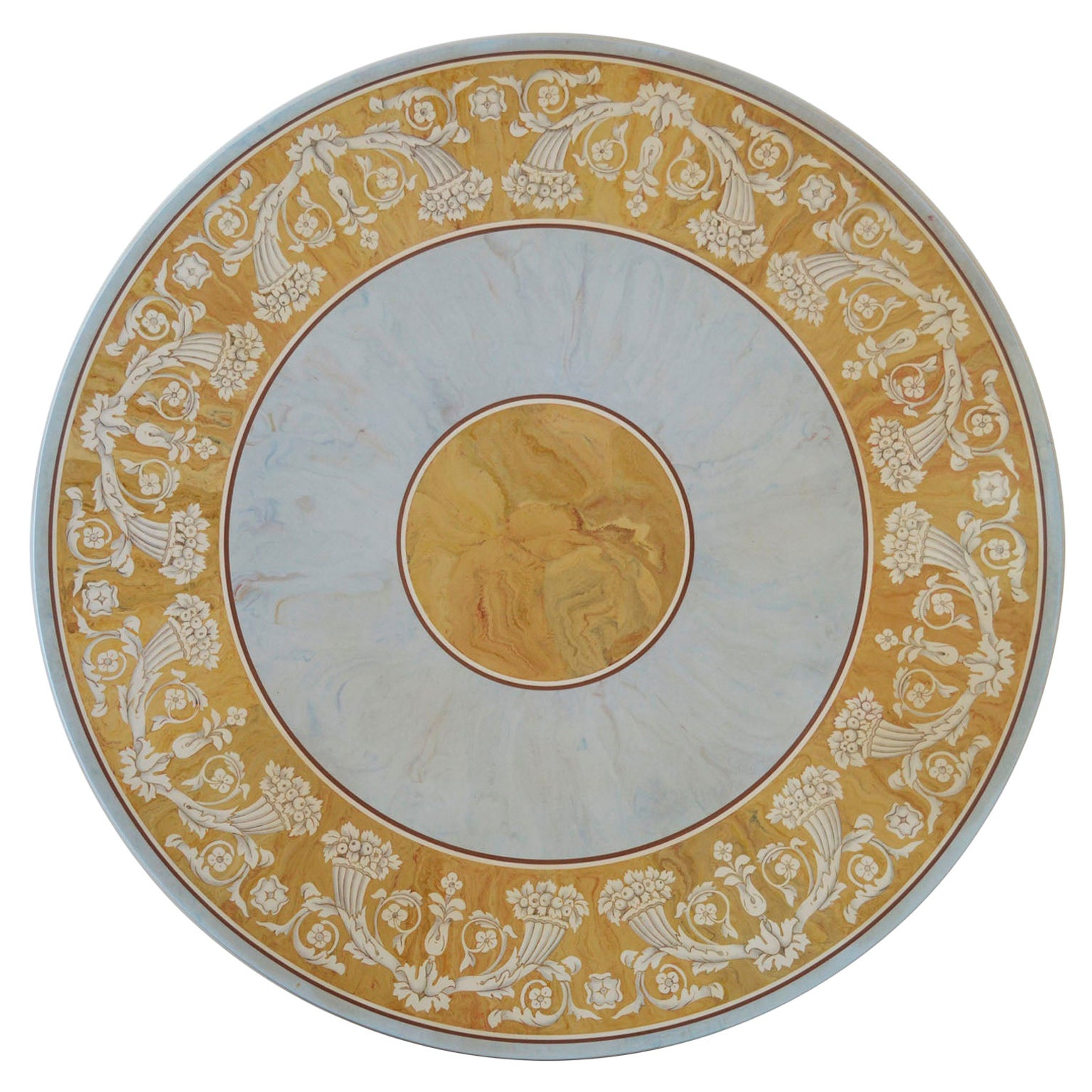 Round Dining Table Classic Scagliola Art Inlay Marbled Wood Base Gold Details