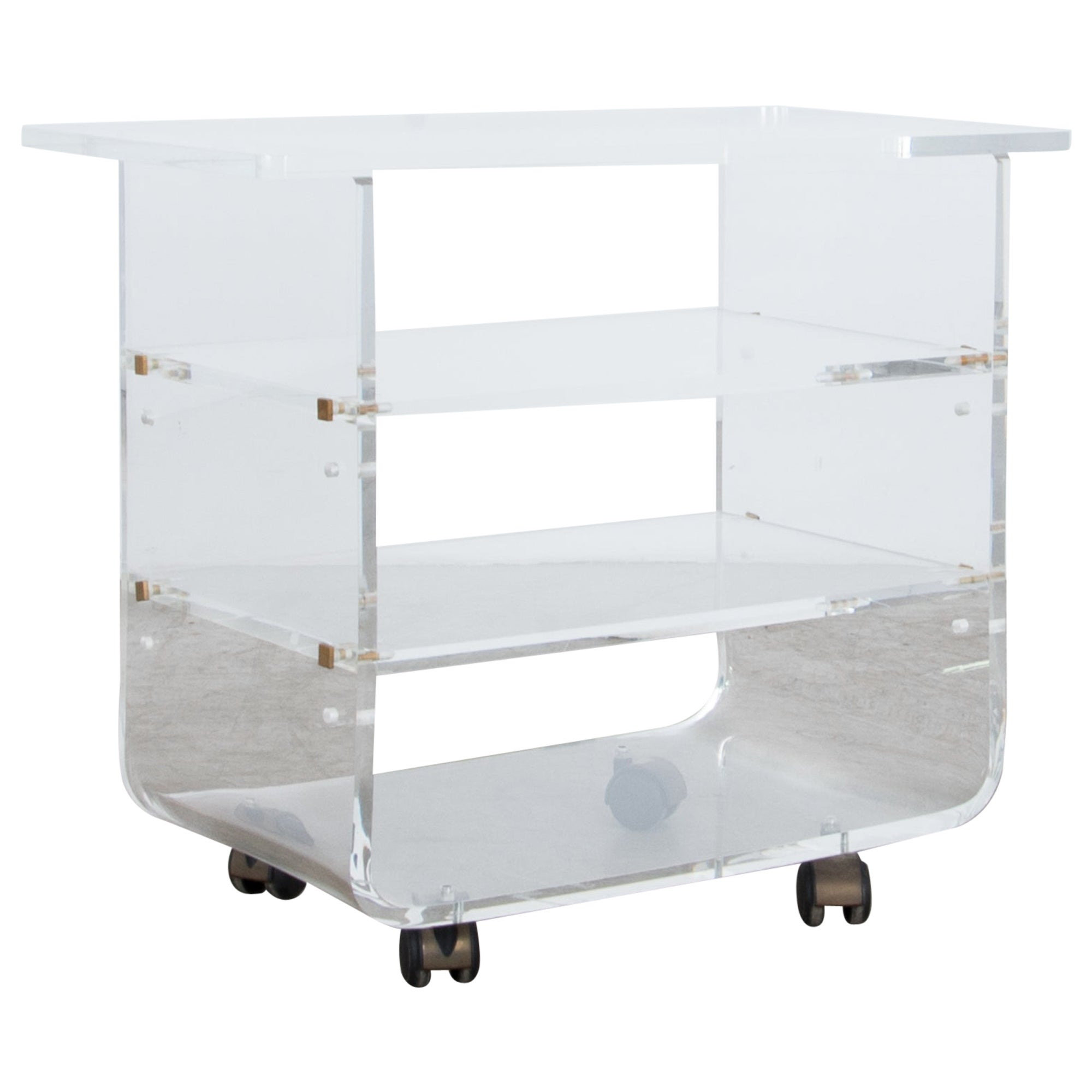 1970s French Acrylic Rolling Cart