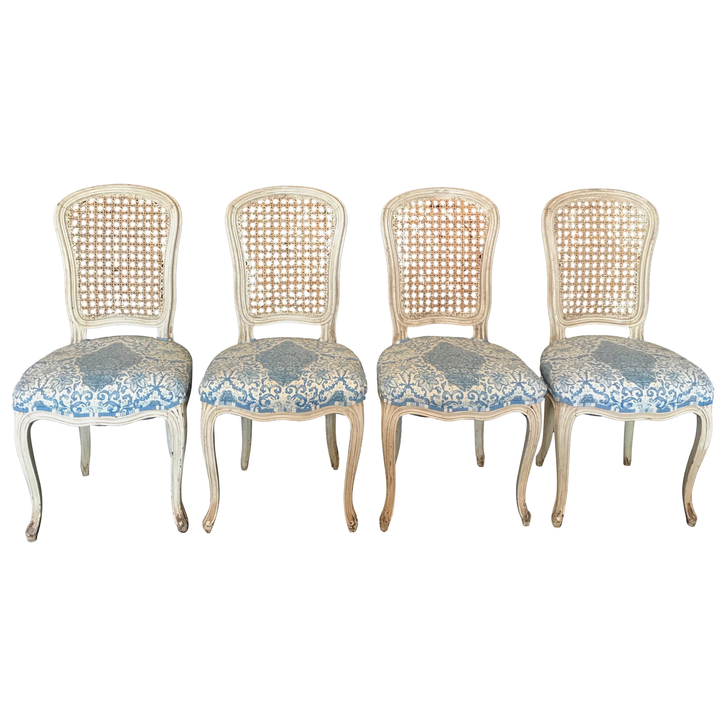 Set of 4 Very Pretty Italian Louis XV Painted Caned and Upholstered Side Chairs