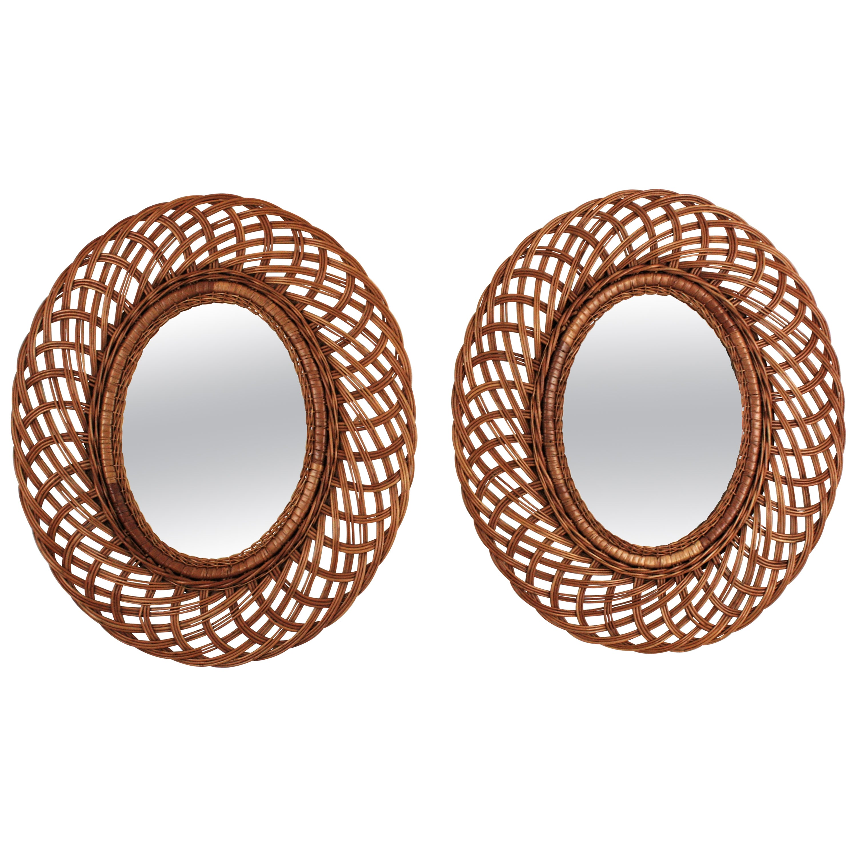 Pair of Rattan and Wicker Oval Mirrors, Spain, 1960s