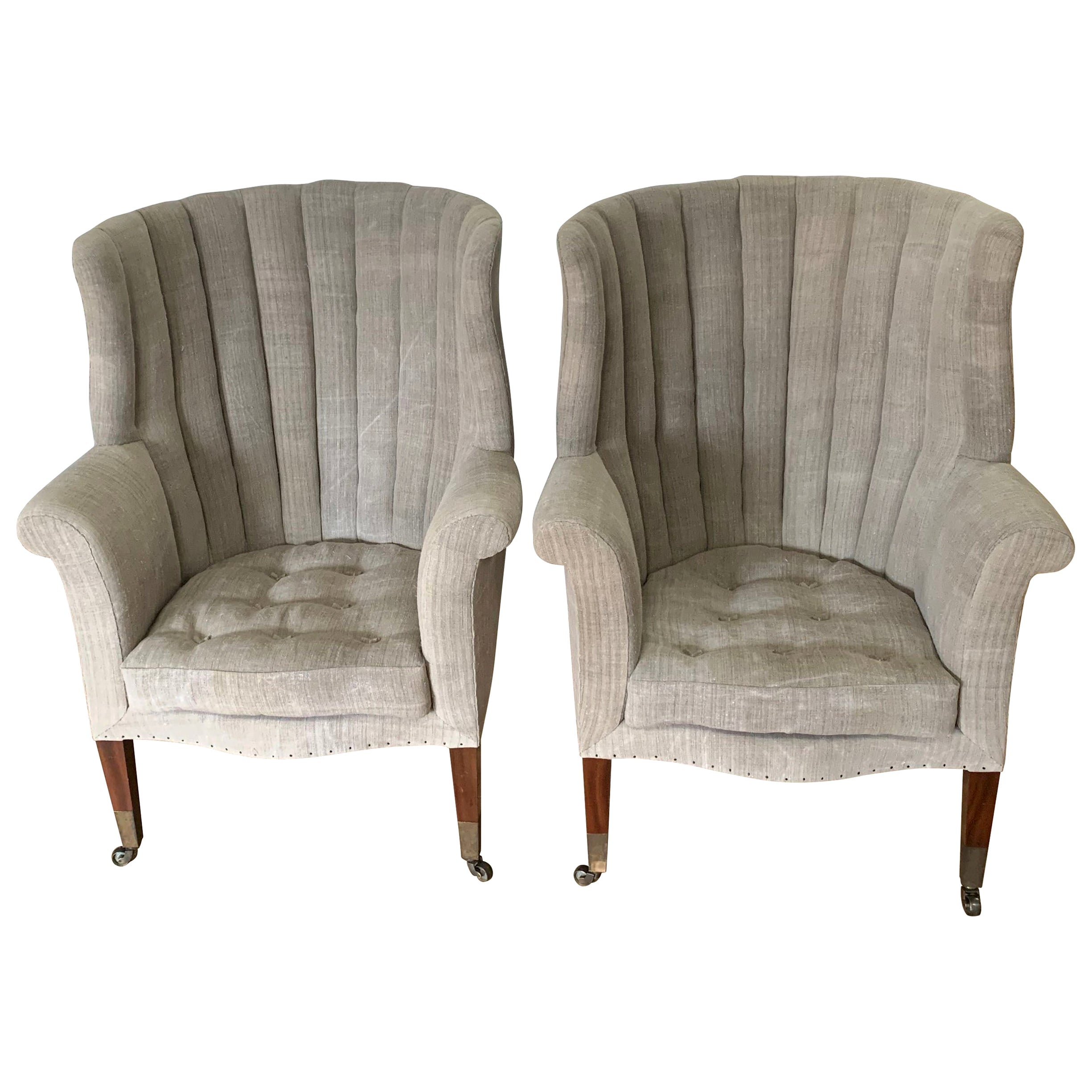 Pair of Upholstered Armchairs, Barrel Back, England, 19th Century