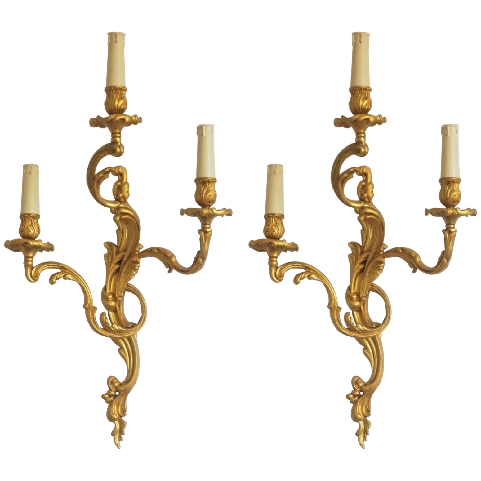 Pair of Large French Louis XVI Style Gilt Bronze Three-Light Wall Sconces