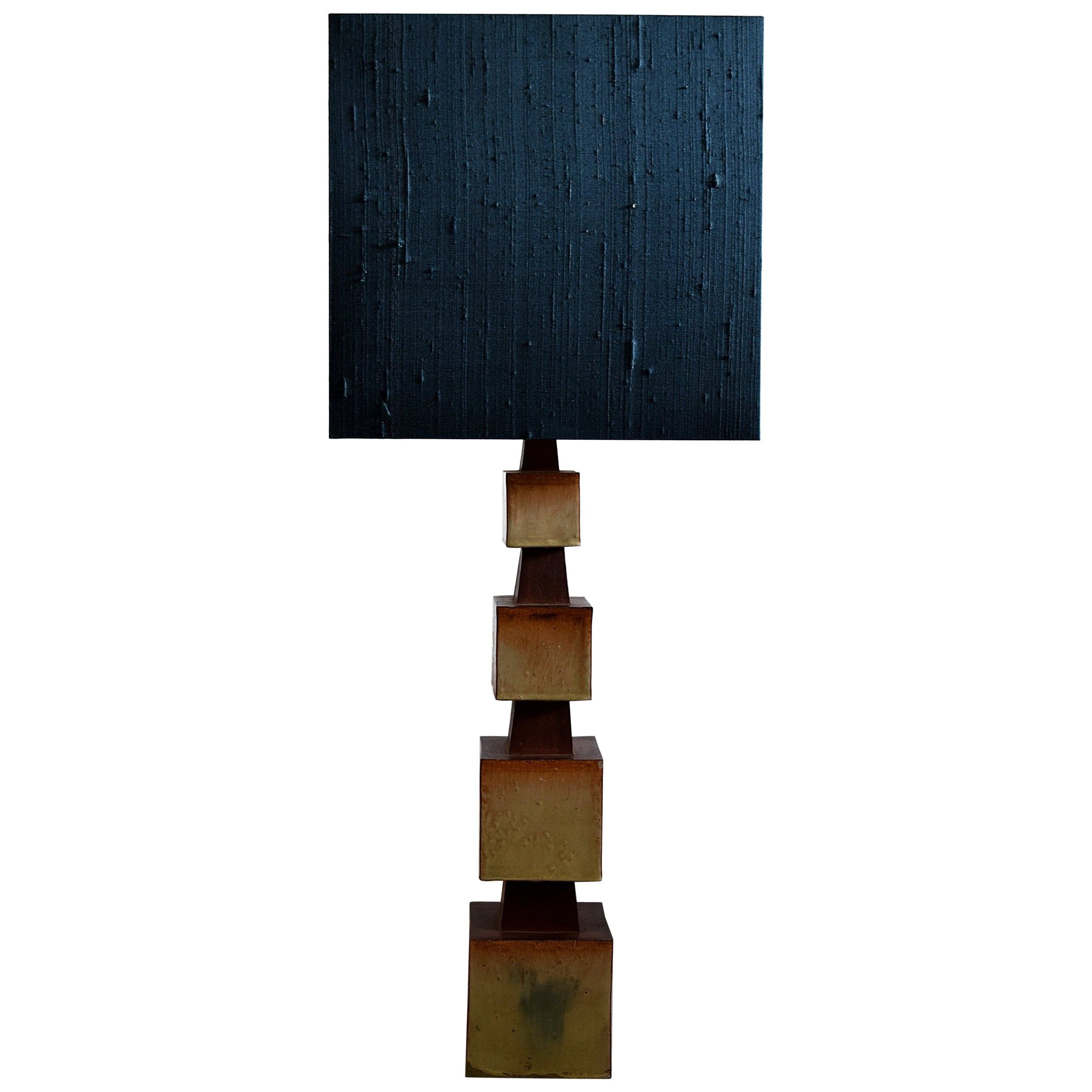 Midcentury Beige and Blue Ceramic Table Lamp
