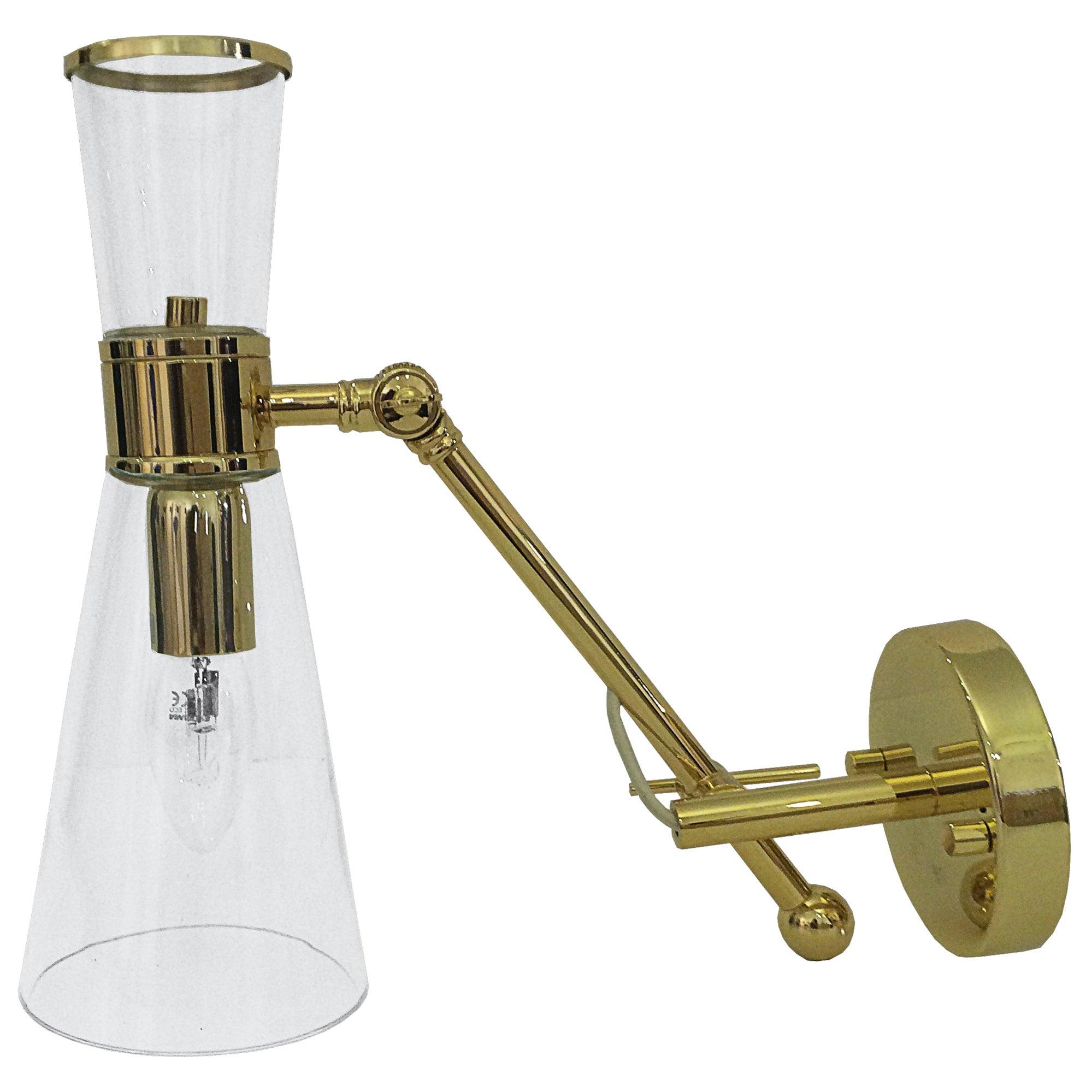 21st Century Mitte Wall Lamp Brass Glass